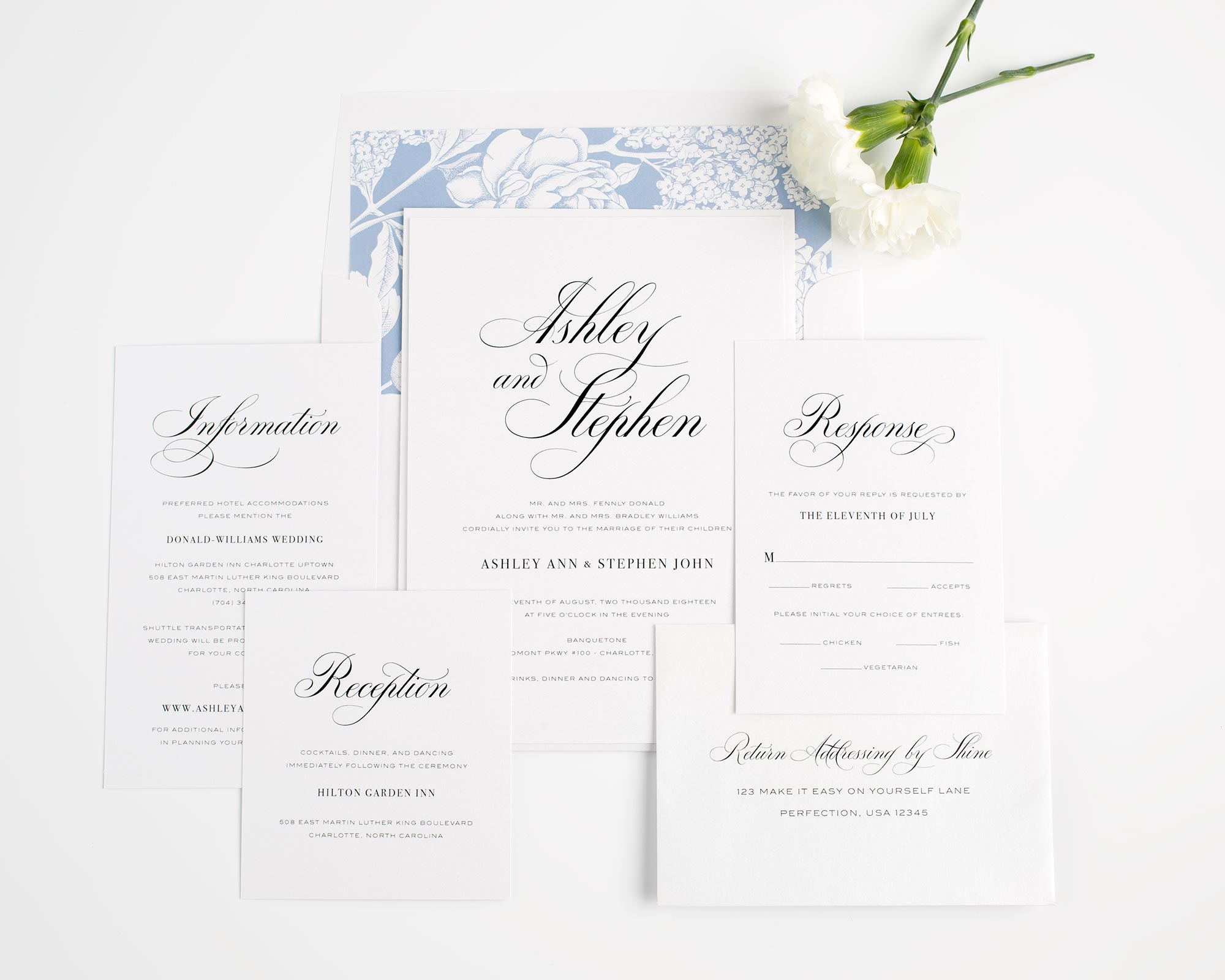 Calligraphy Wedding Invitations with Floral Accents