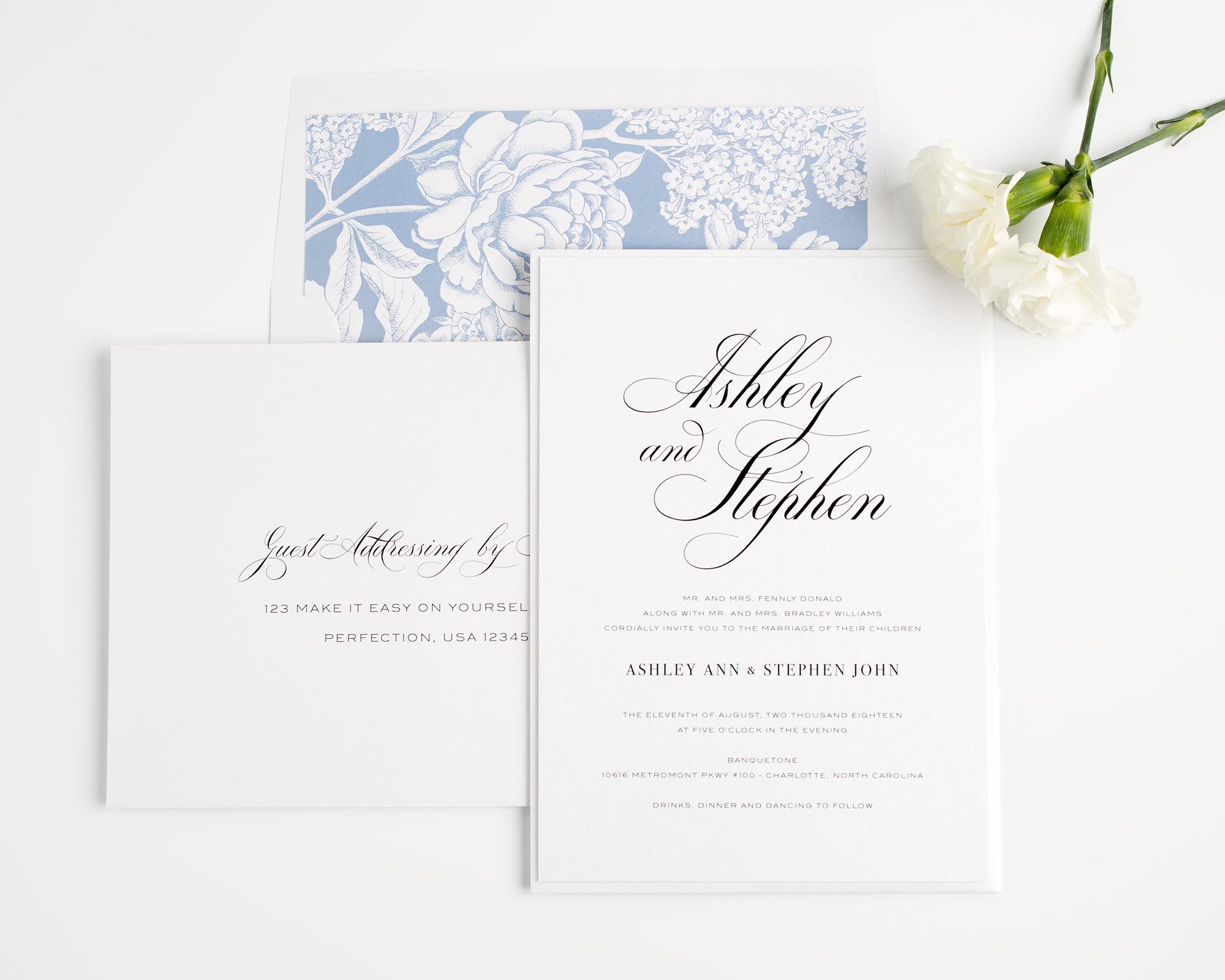 Calligraphy Wedding Invitations In Serenity Blue With Fl Accents Clic And Elegant