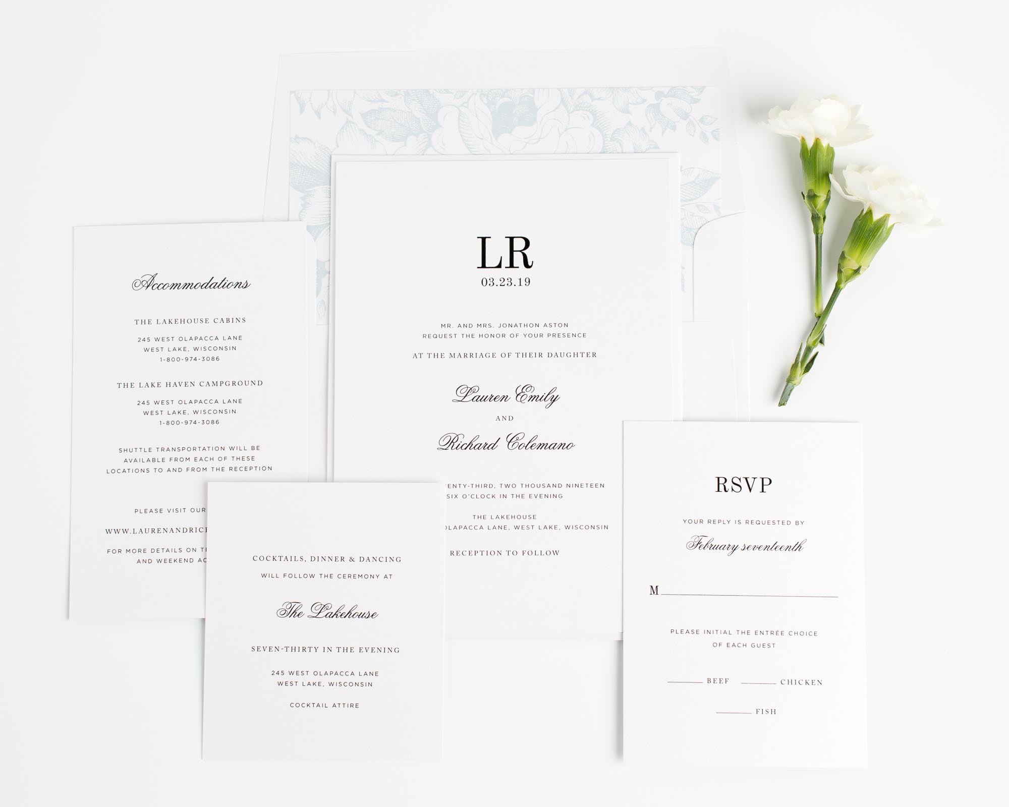 Monogram Wedding Invitations in Ice Blue