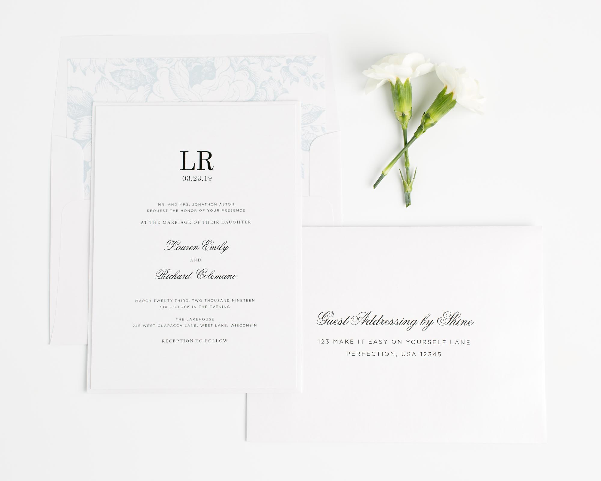 Timeless Monogram Wedding Invitations in Blue with Floral Accents