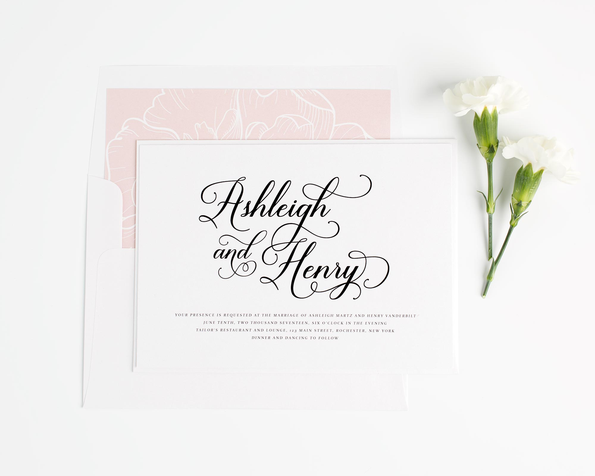 Vintage Wedding Invitations in Blush Pink