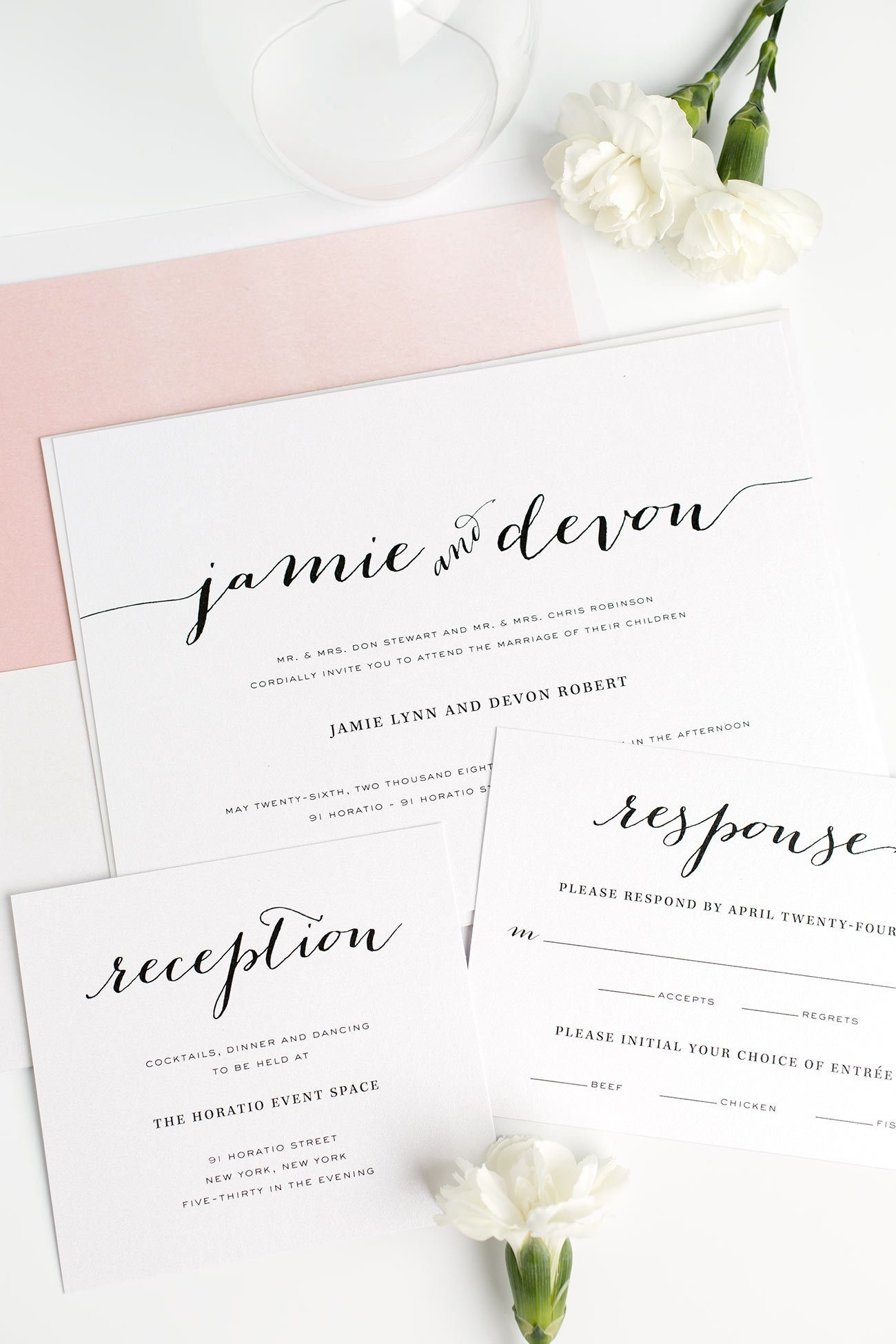 Gorgeous Calligraphy Wedding Invitations in Pink with a Watercolor Envelope Liner