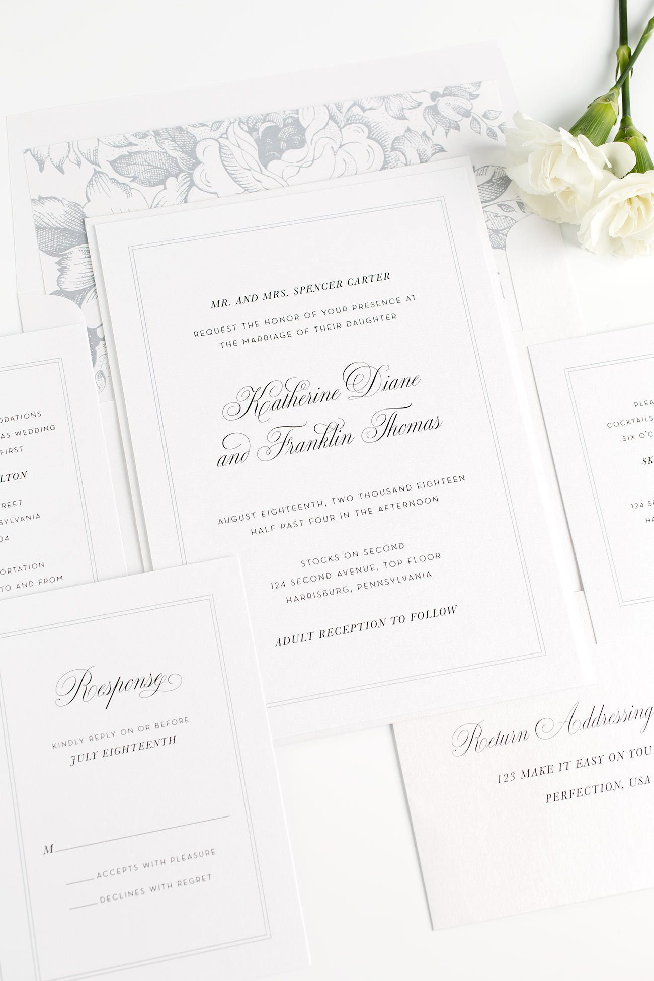 Simple and Classic Wedding Invitations in Dove Gray with a Floral Garden Rose Envelope Liner