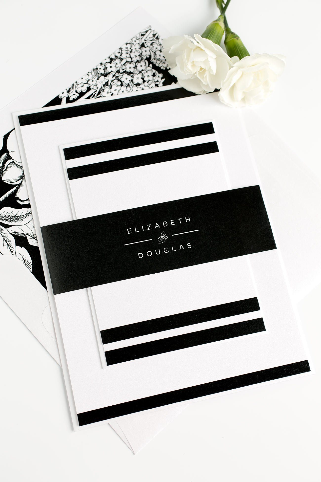 Black and White Modern Wedding Invitations with a Floral Envelope Liner