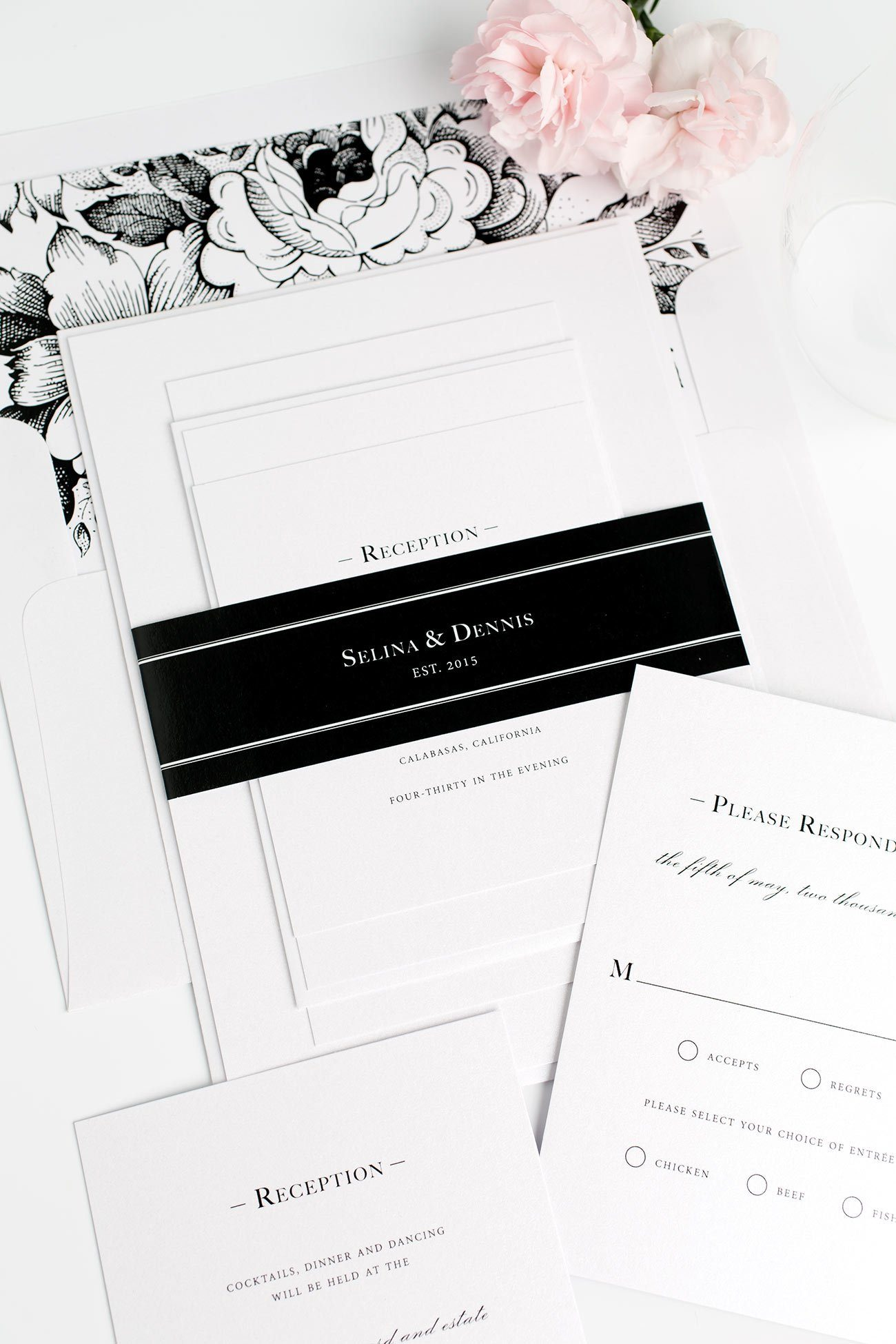 Black and White Floral Wedding Invitations with a Monogram