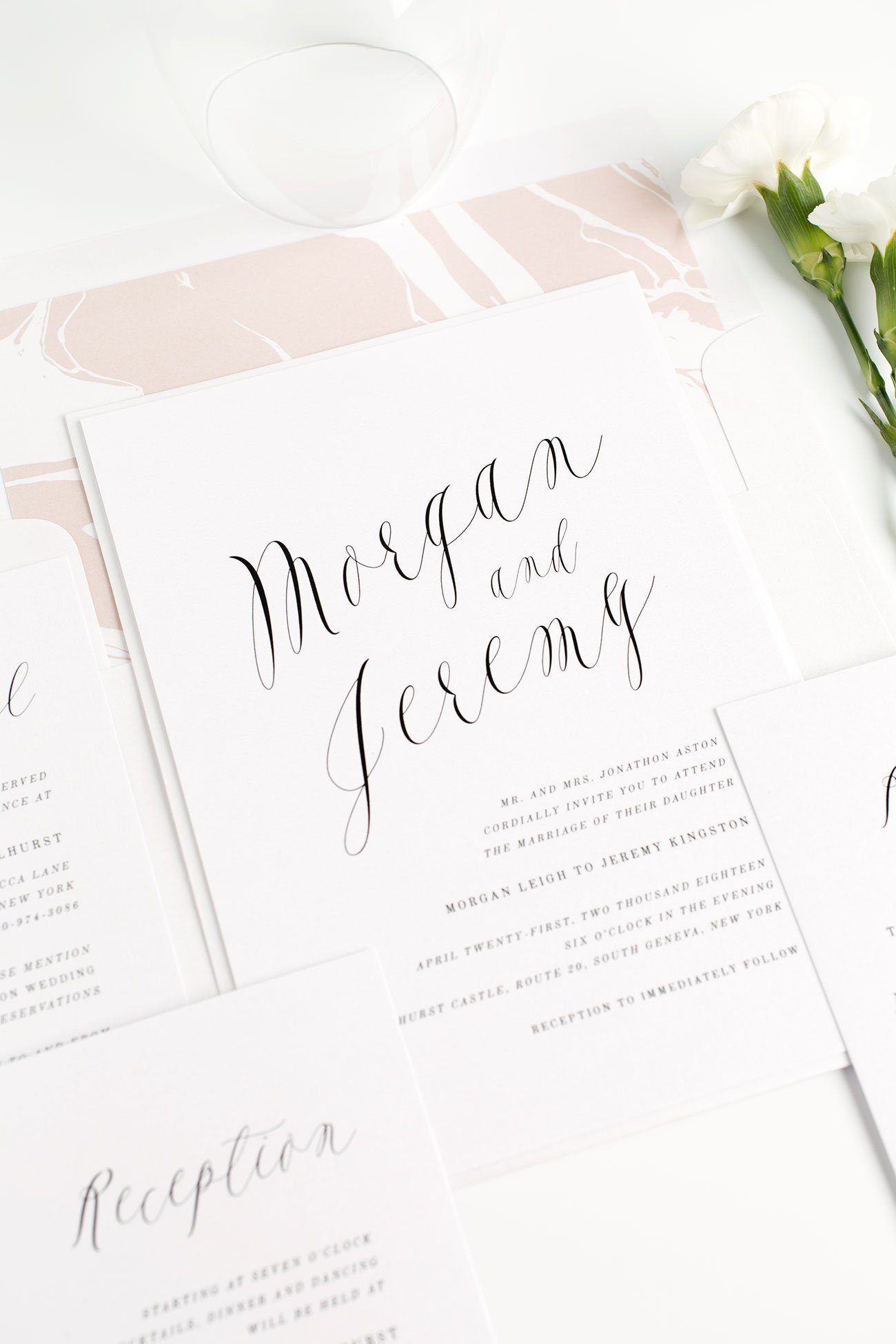 Ethereal Wedding Invitations In Rose Gold Wedding