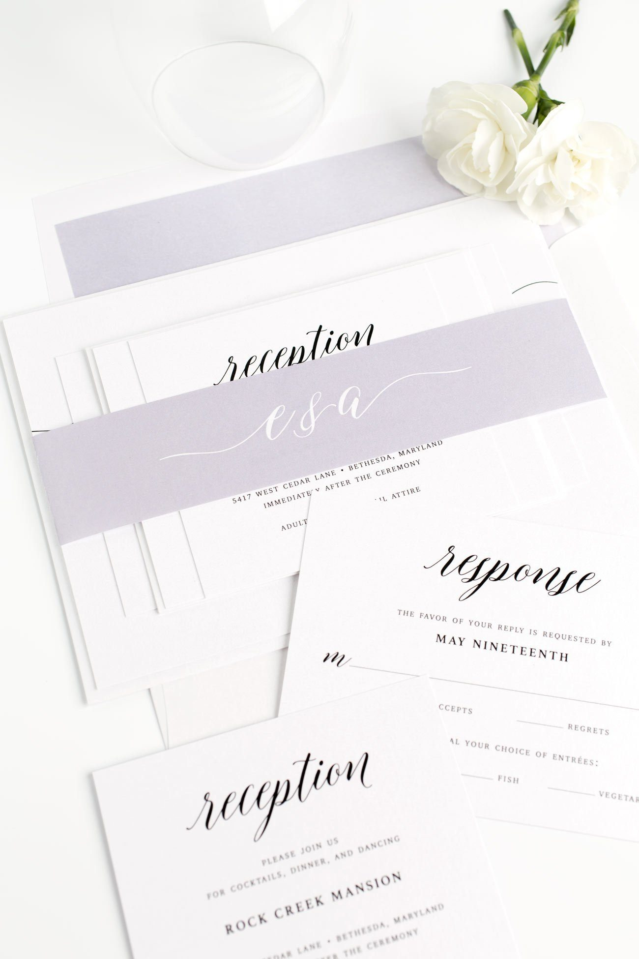 Romantic Watercolor Wedding Invitations in Lavender with flowing Calligraphy