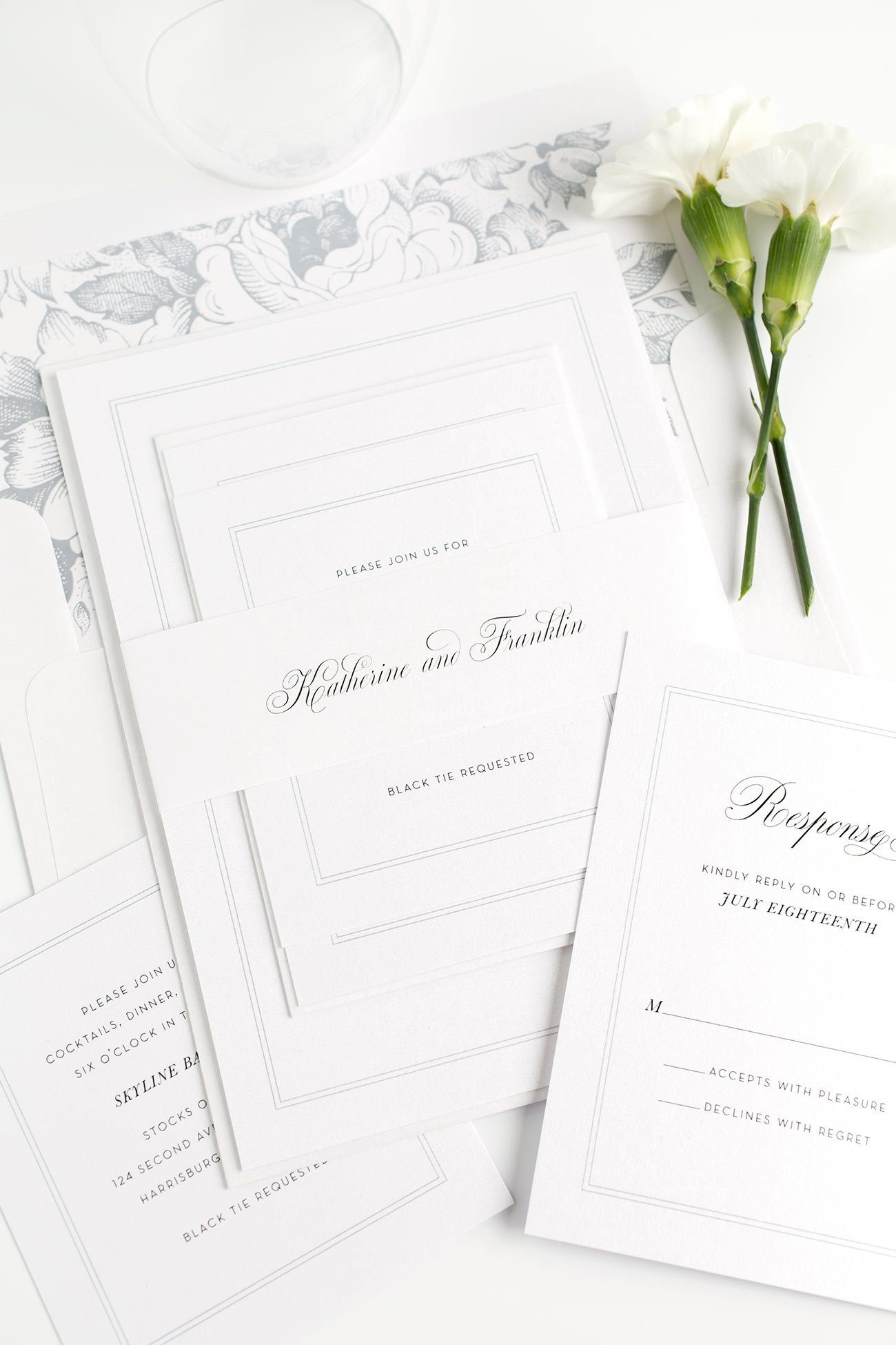 Classic Wedding Invitations in Dove Gray with a Floral Envelope Liner