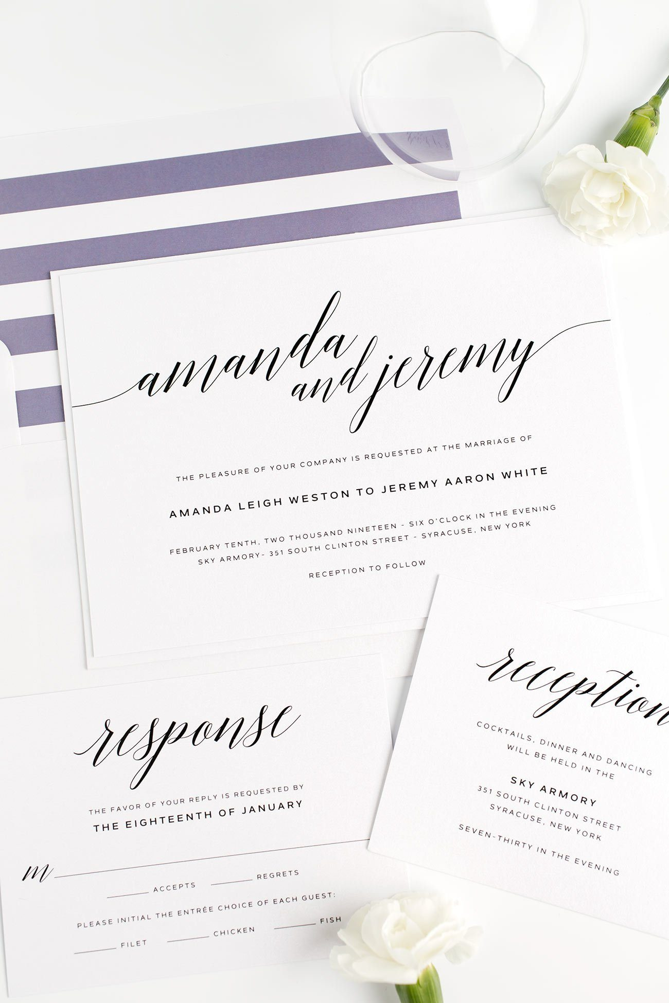 Dramatic Wedding Invitations in Purple Dusk with a Striped Envelope Liner