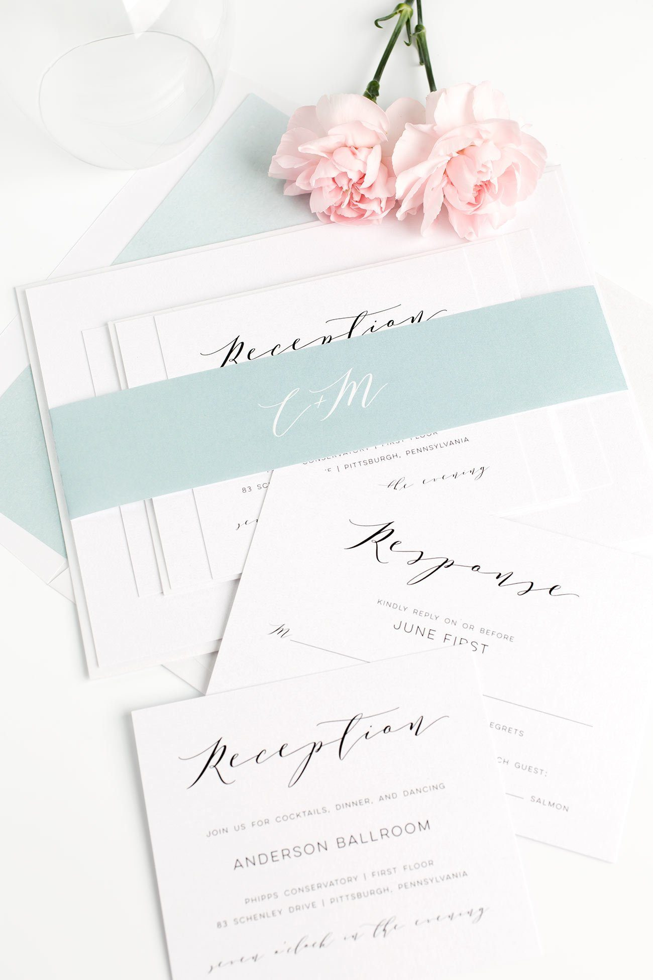 Dramatic Wedding Invitations in Dusty Teal with a Watercolor Envelope Liner and Romantic Calligraphy