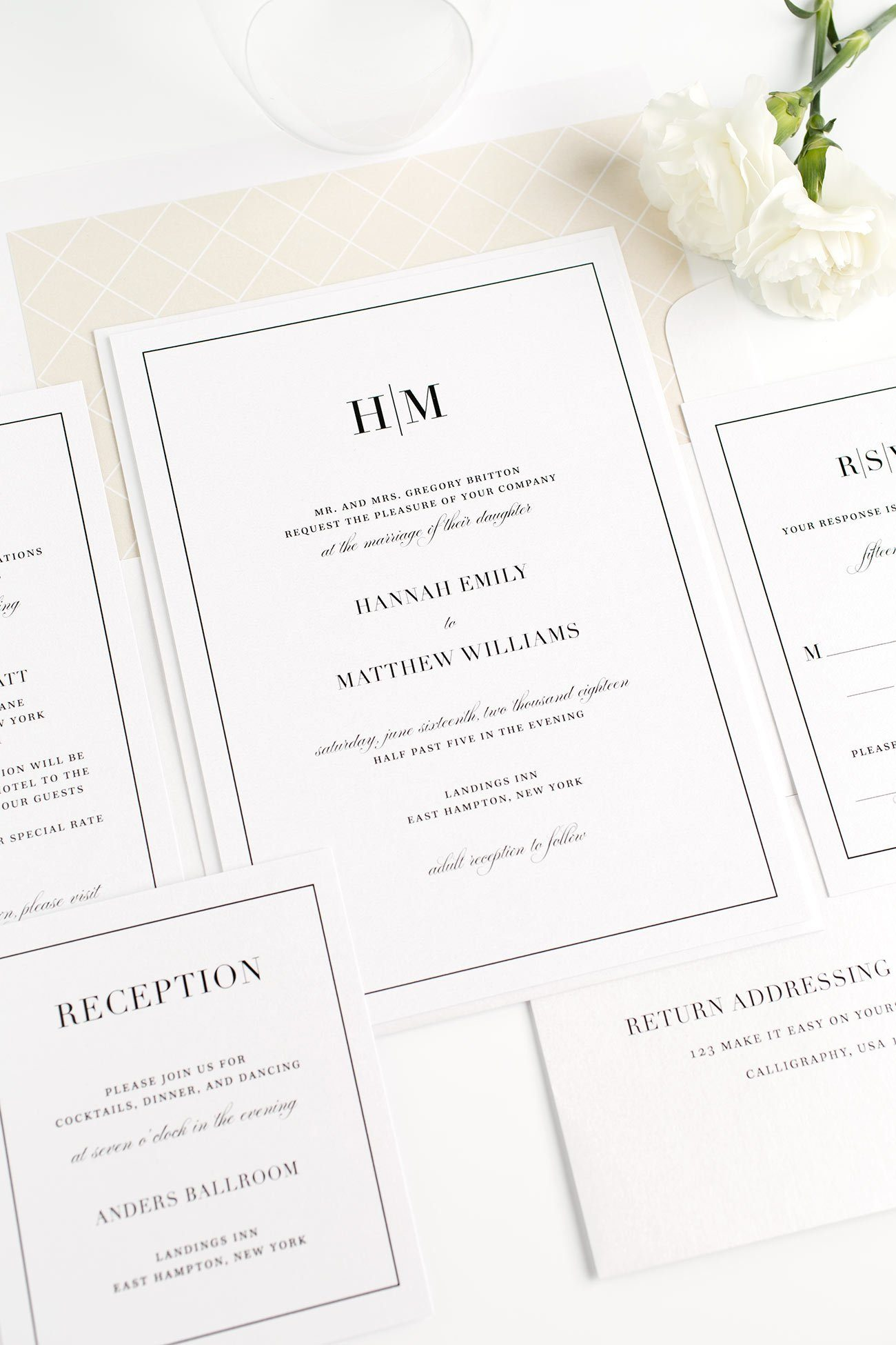 champagne wedding invitations with a modern monogram - Champagne Wedding Invitations
