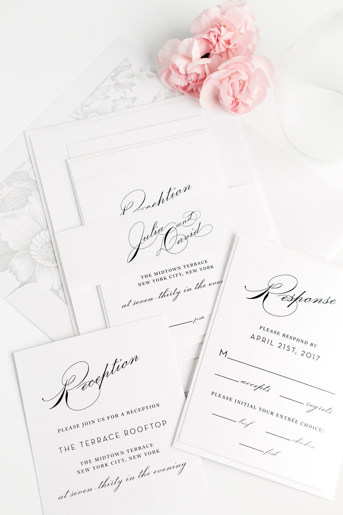 Garden Wedding Invitations with a Floral Liner and Glamorous Calligraphy