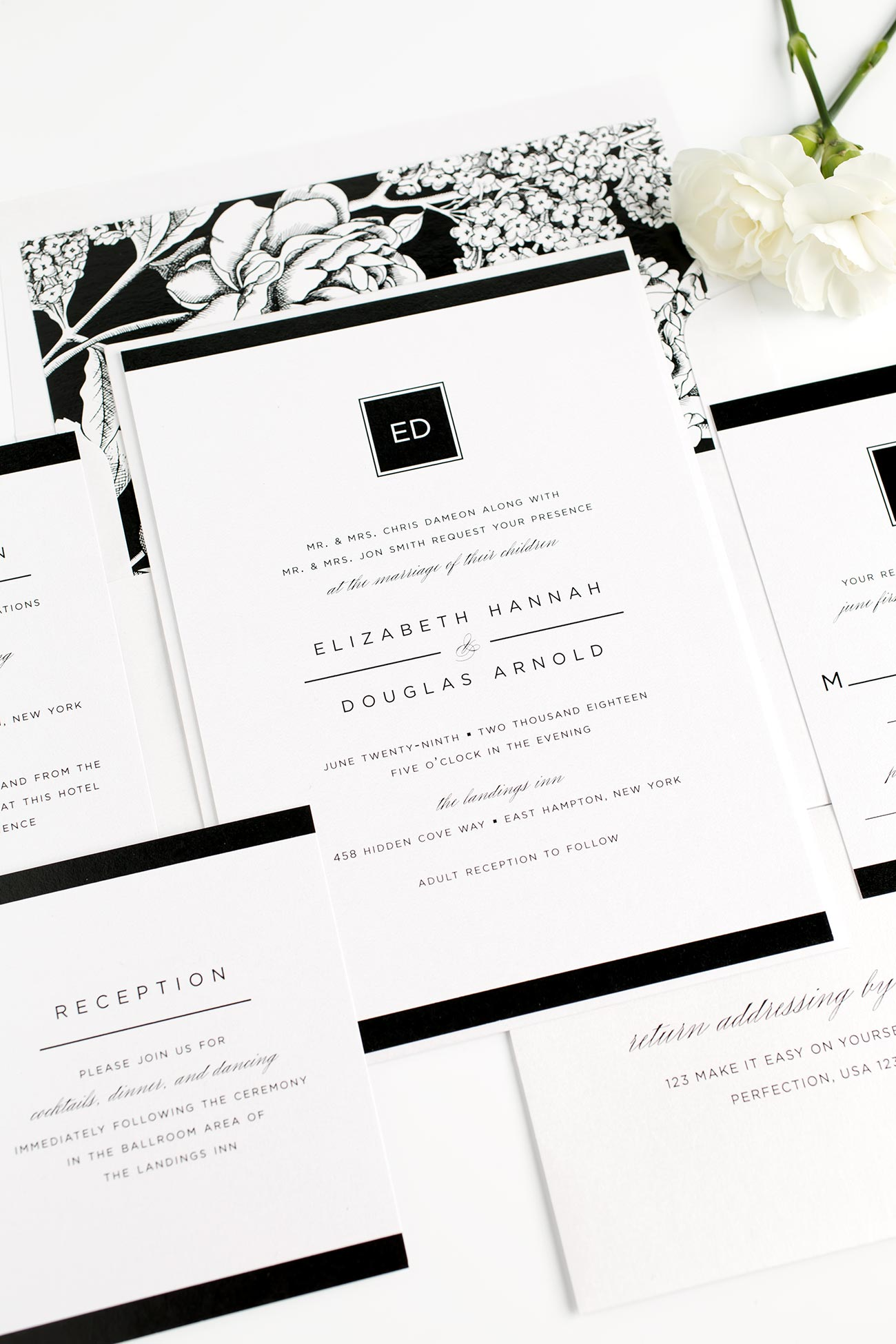 Floral Wedding Invitation in Black and White with a Modern Monogram