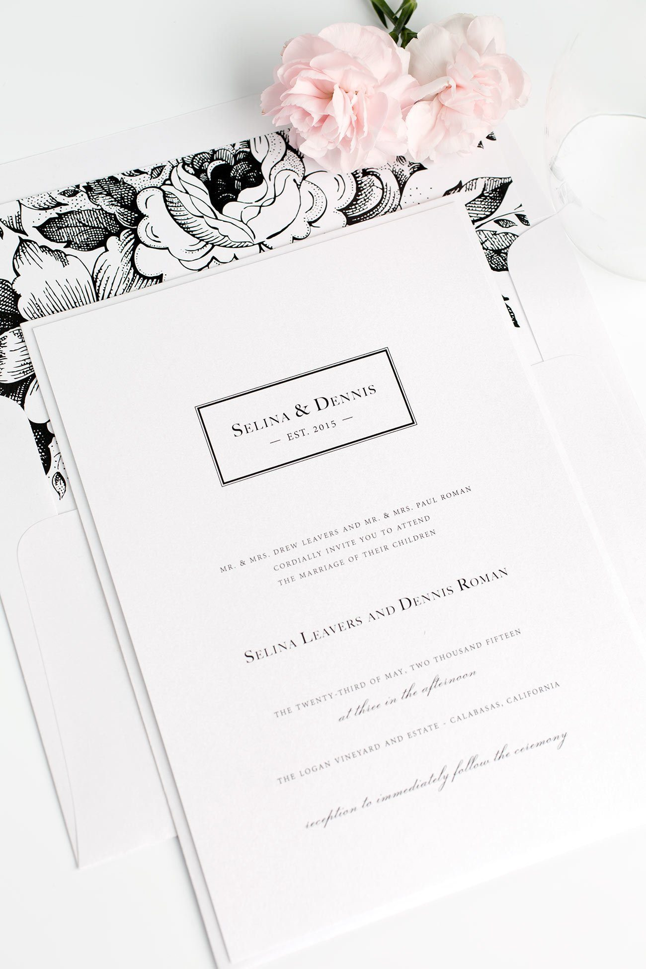 Romantic Monogram Wedding Invitations with a Black and White Floral Envelope Liner