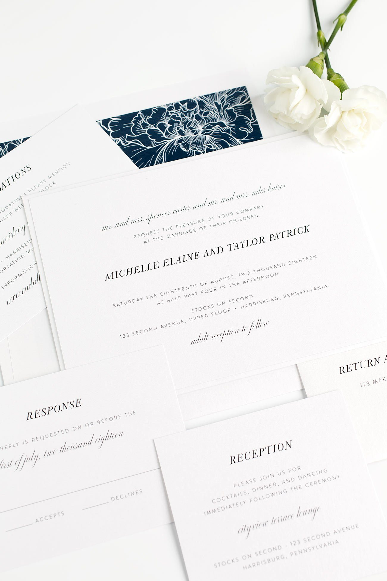Navy Floral Wedding Invitations With A Modern And Chic Feel