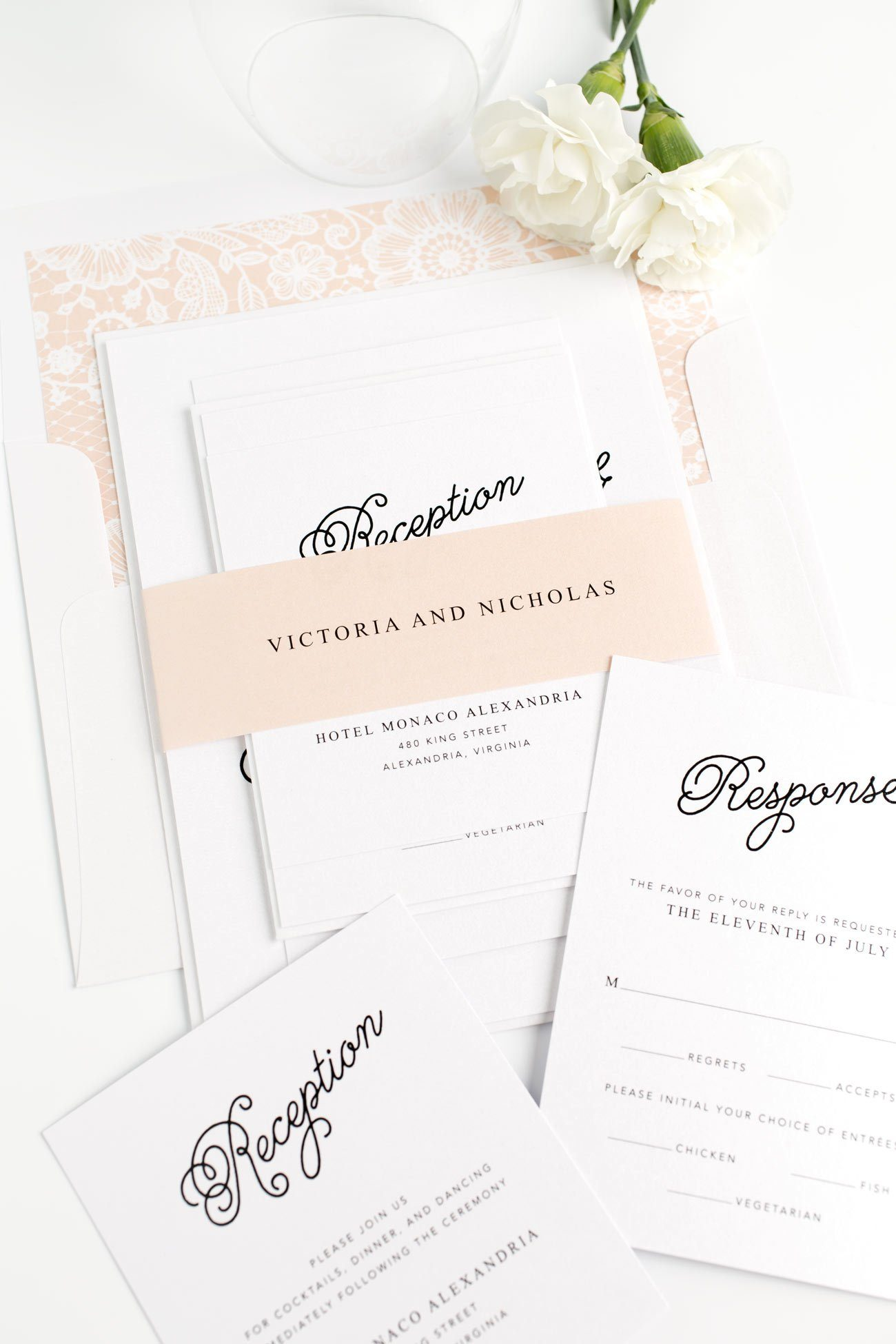 Peach Wedding Invitations with a Lace Envelope Liner and Delicate Calligraphy