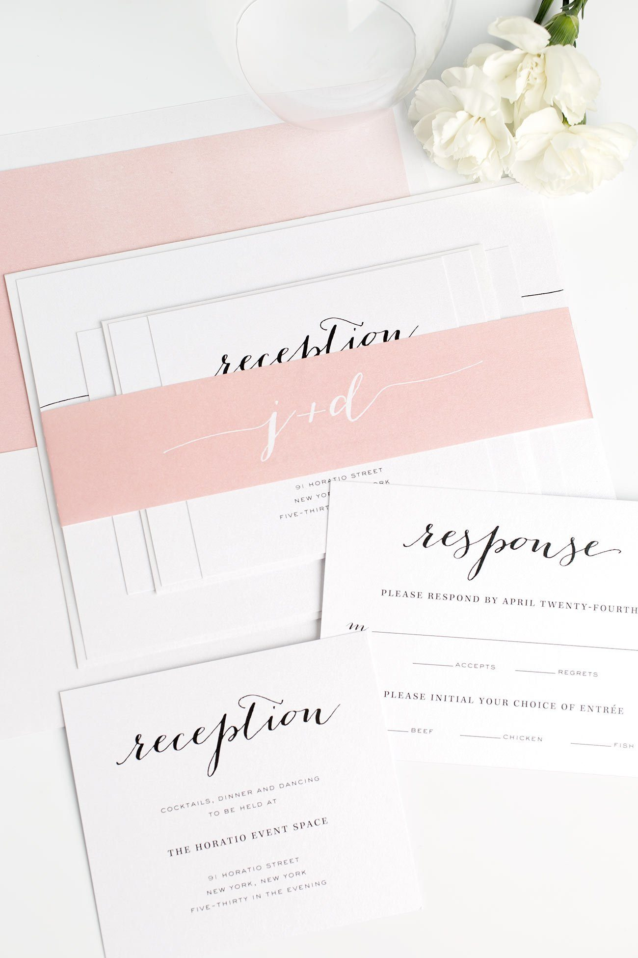 Calligraphy Wedding Invitations with a Watercolor Envelope Liner in a Pretty Pink