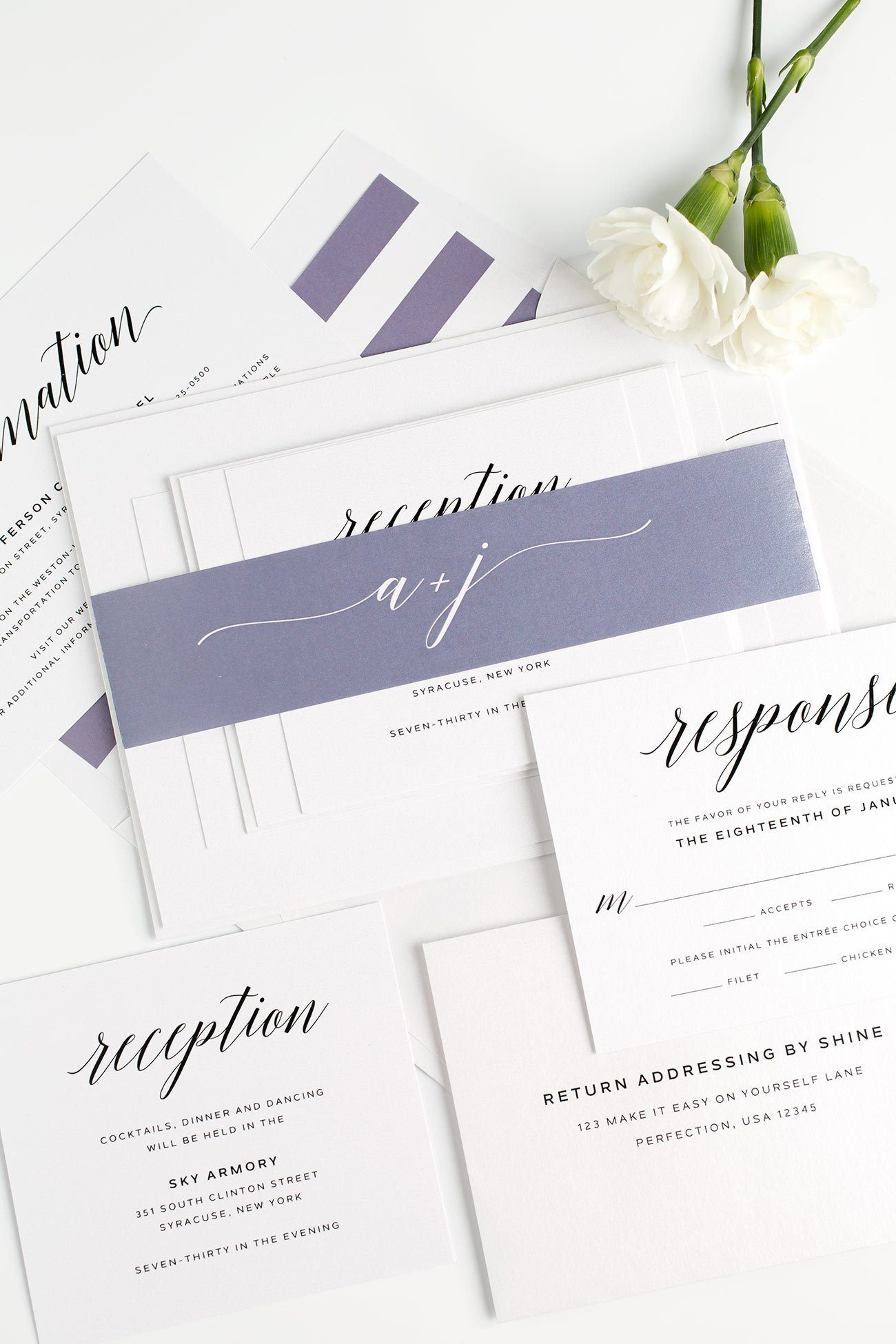 Romantic Wedding Invitations in Dusty Purple with Flowing Calligraphy