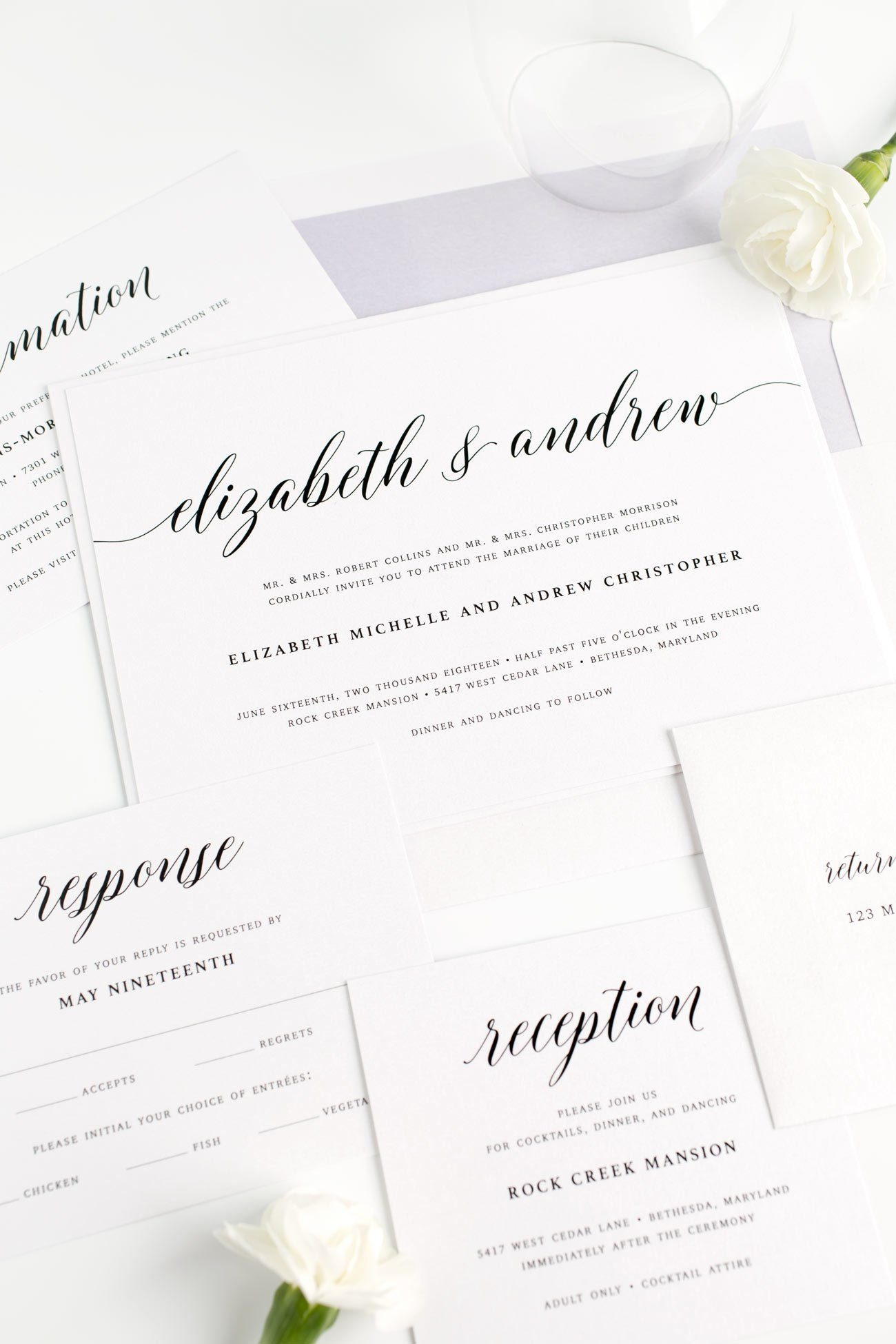 Calligraphy Wedding Invitations in Dusty Purple with a Watercolor Envelope Liner