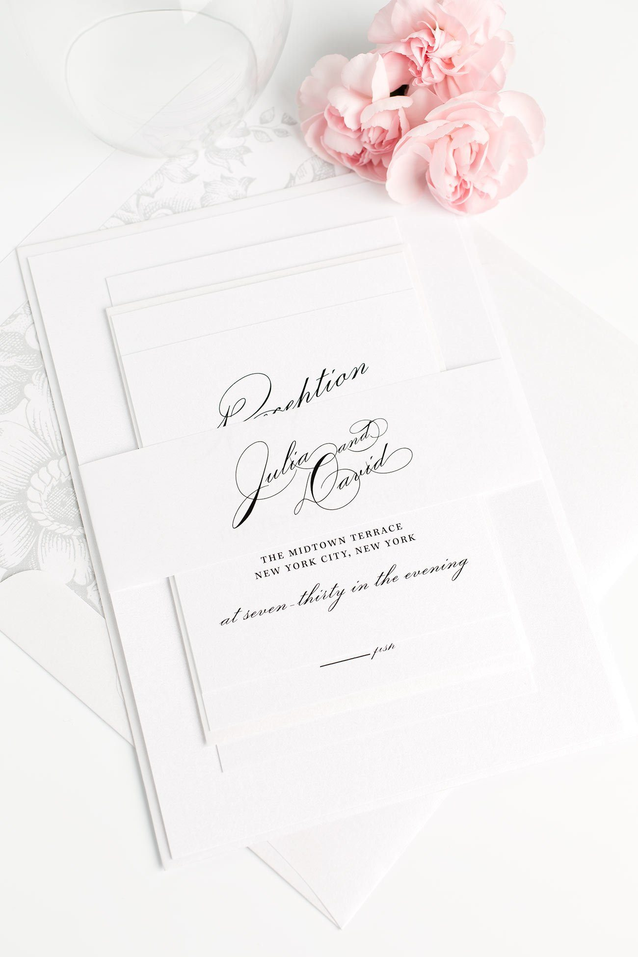 Vintage Wedding Invitations with gorgeous Calligraphy and a Floral Envelope Liner