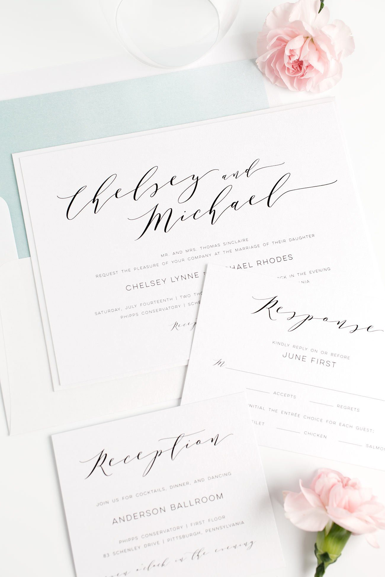 Romantic Wedding Invitations in Dusty Teal with a Watercolor Envelope Liner and Calligraphy