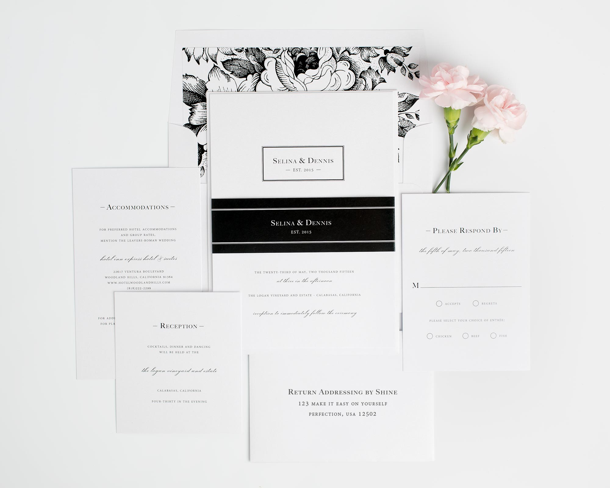 Monogram Wedding Invitations in Black and White