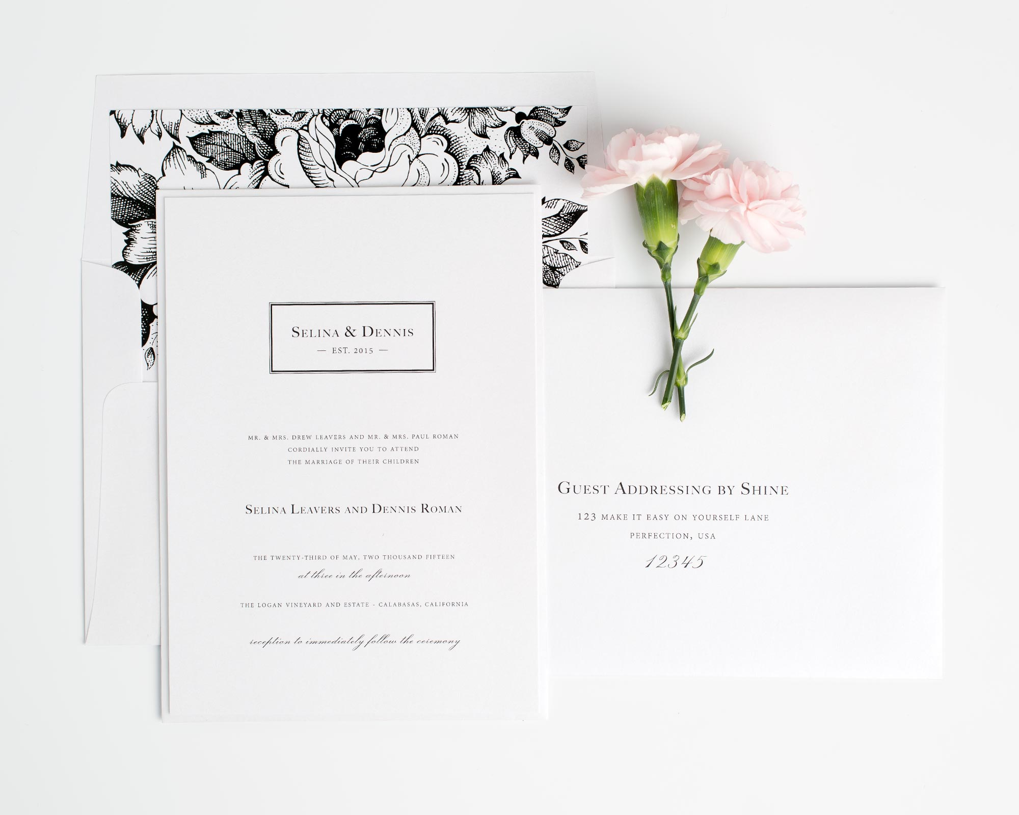 black and white floral wedding invitations with a monogram floral wedding invitations Monogram Floral Wedding Invitations