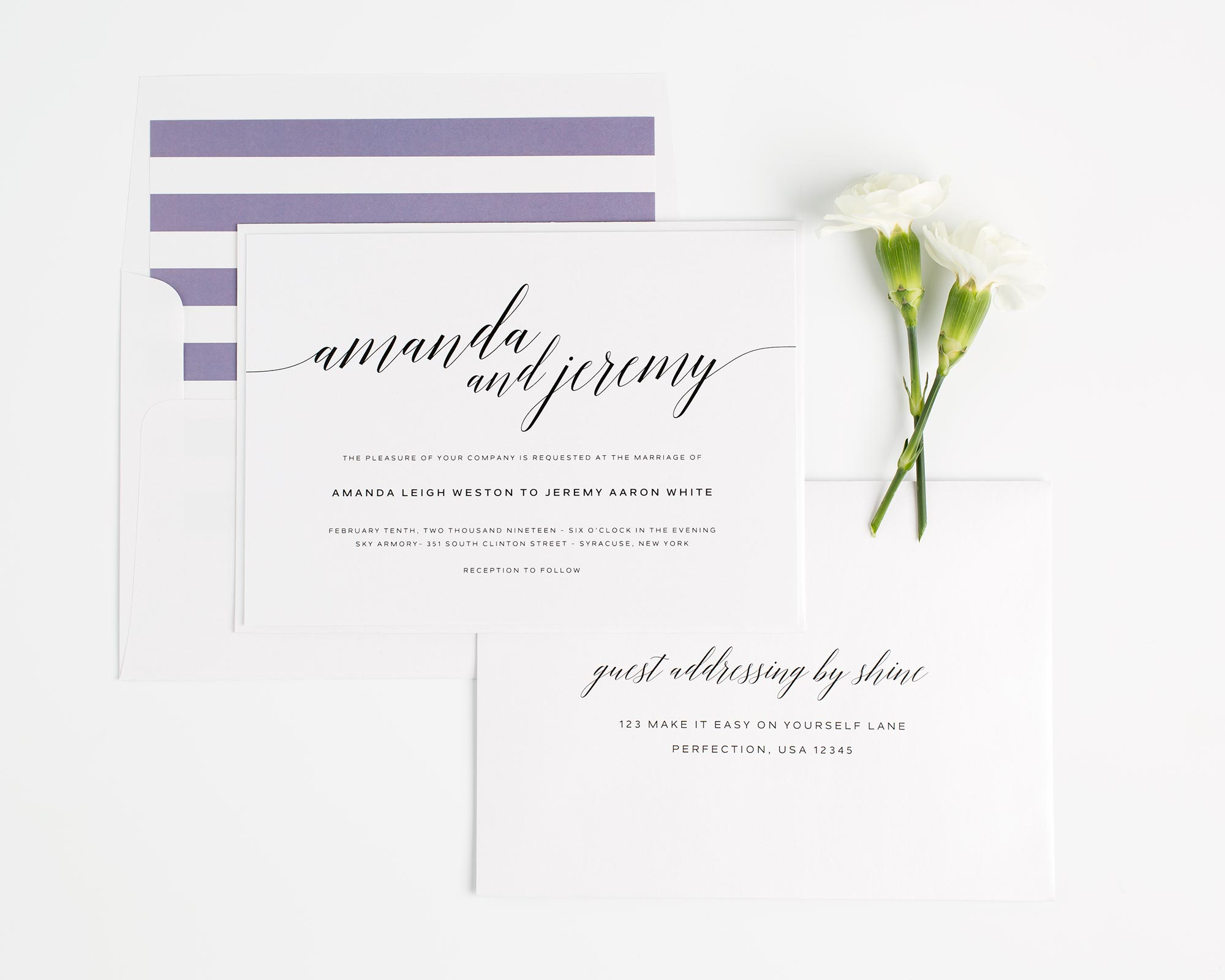 Purple Striped Wedding Invitations