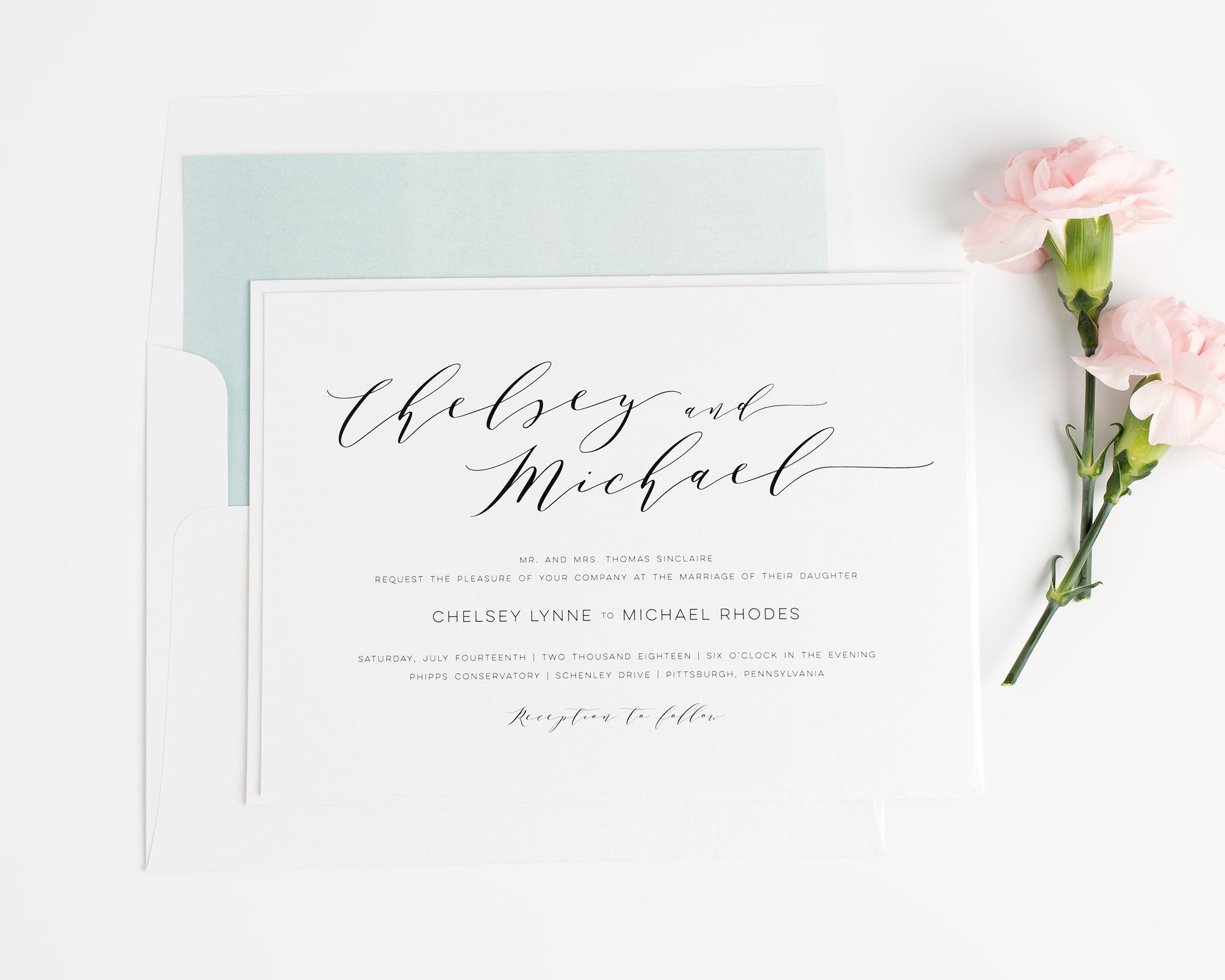 Dusty Teal Wedding Invitations