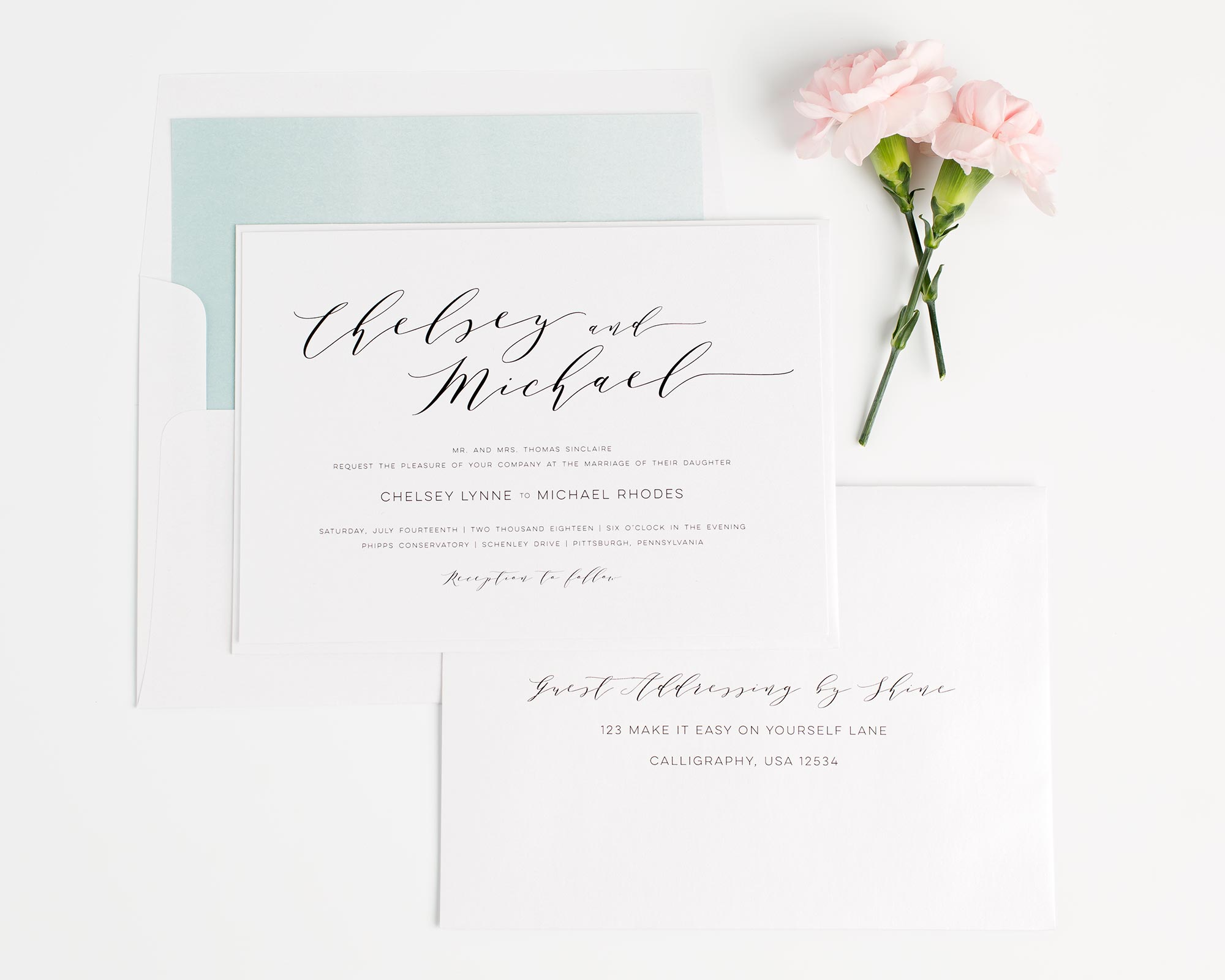 Romantic Wedding Invitations in Dusty Teal