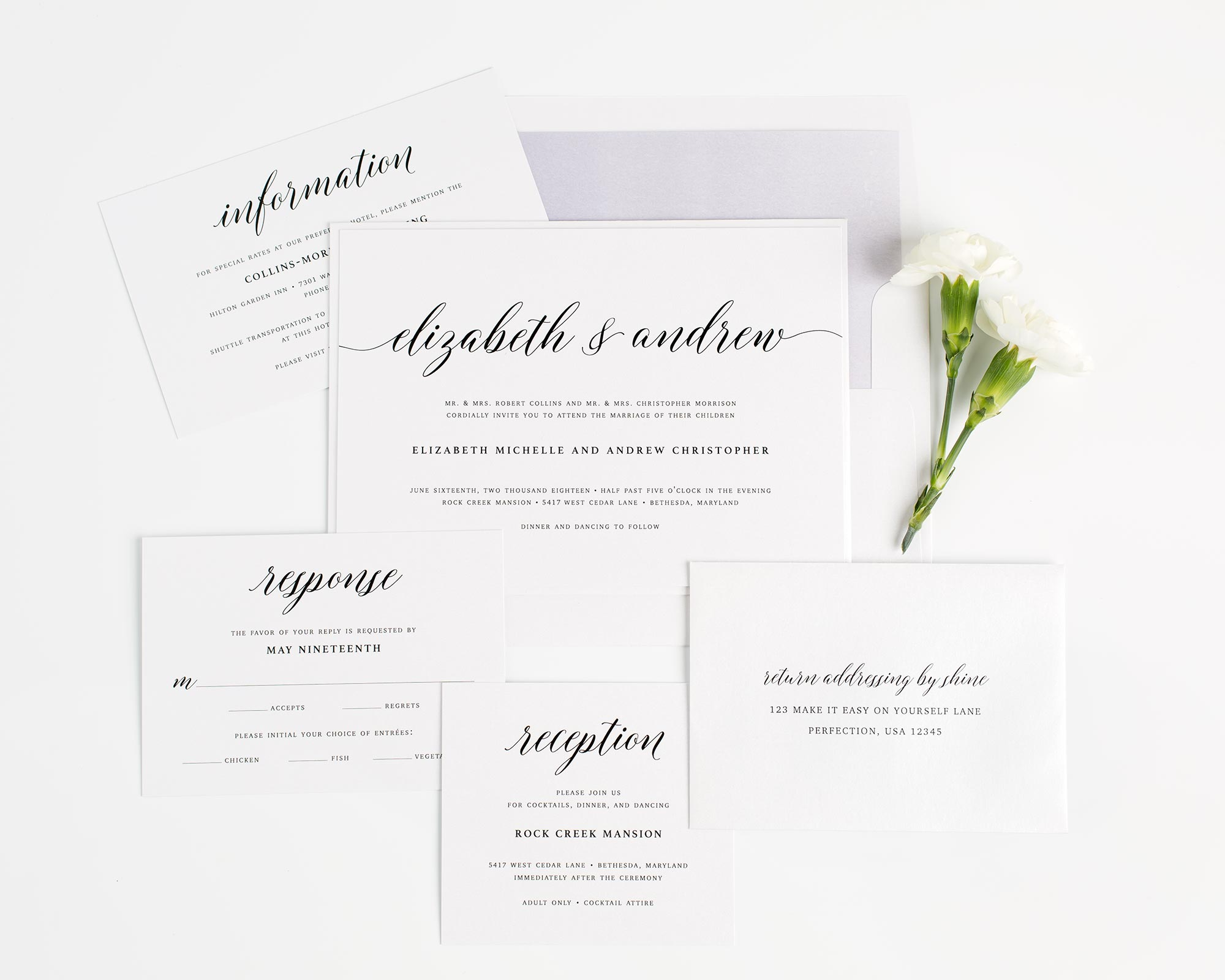 Calligraphy Wedding Invitations in Purple