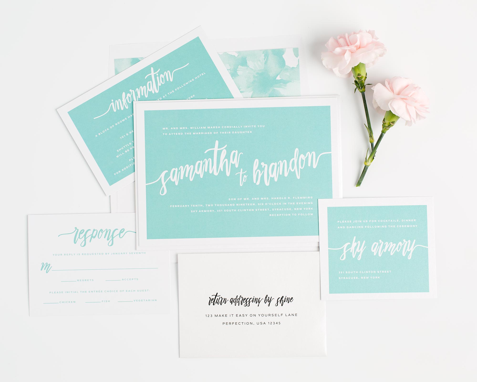 Modern Wedding Invitation Suite in Bold Teal