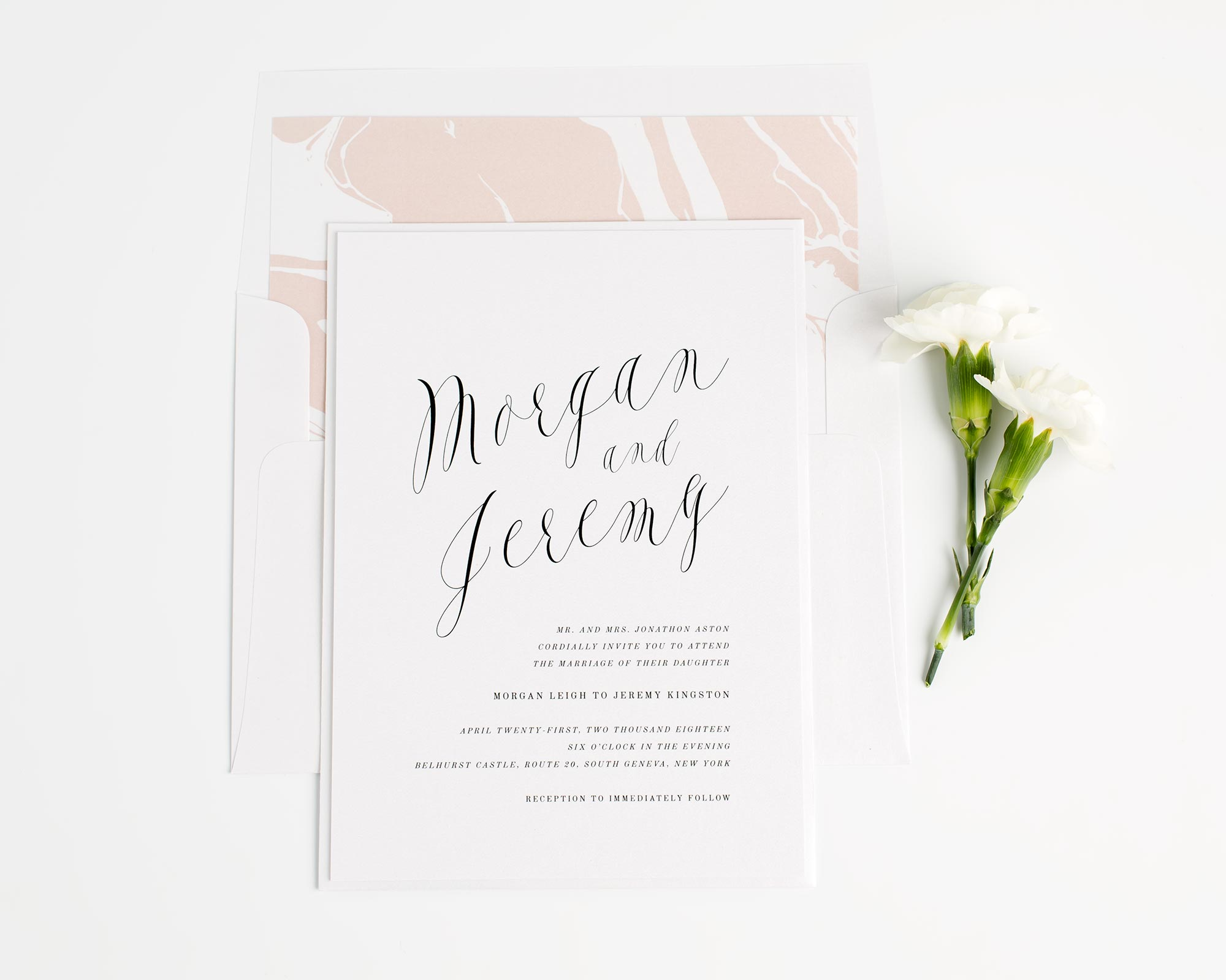 Marble Wedding Invitations in Rose Gold