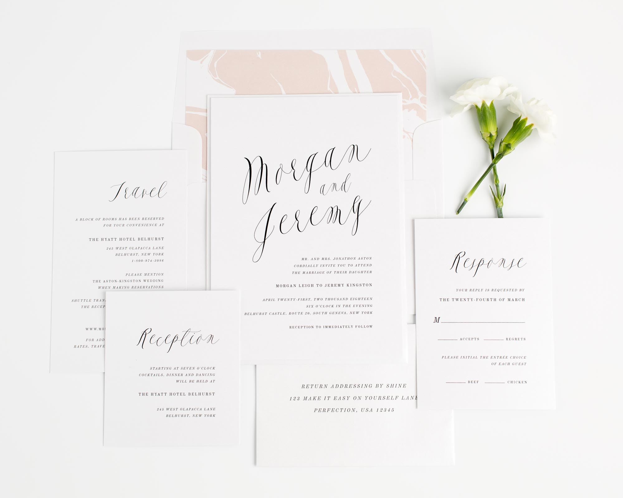 Romantic Calligraphy Wedding Invitations in Rose Gold