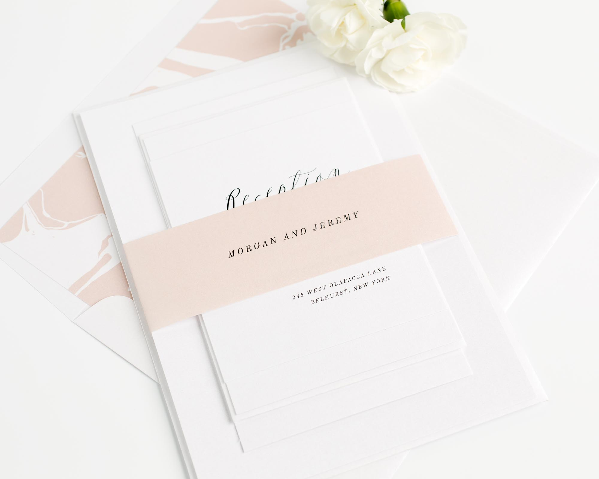 Calligraphy Wedding Invitations in Rose Gold
