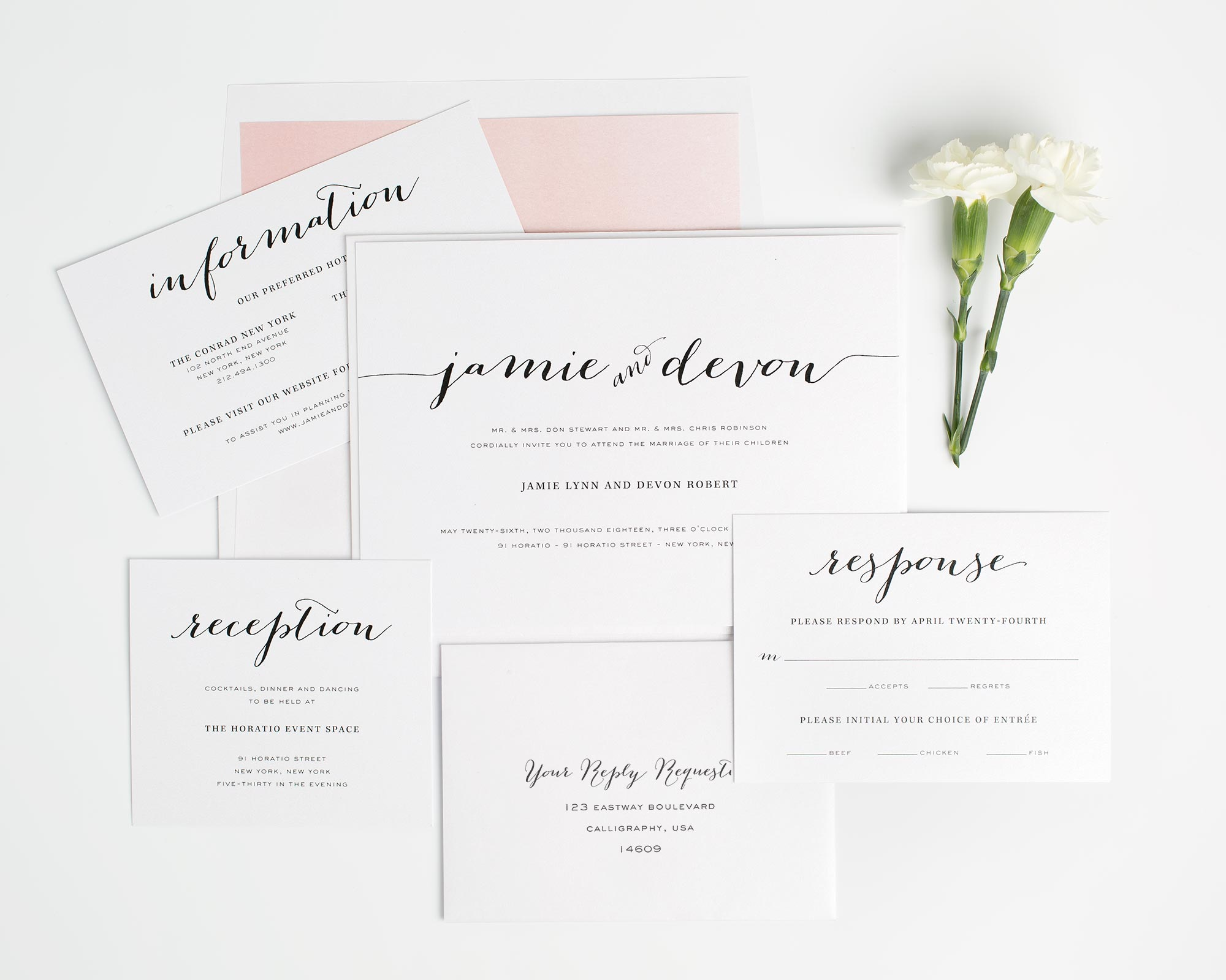 Calligraphy Wedding Invitations Suite