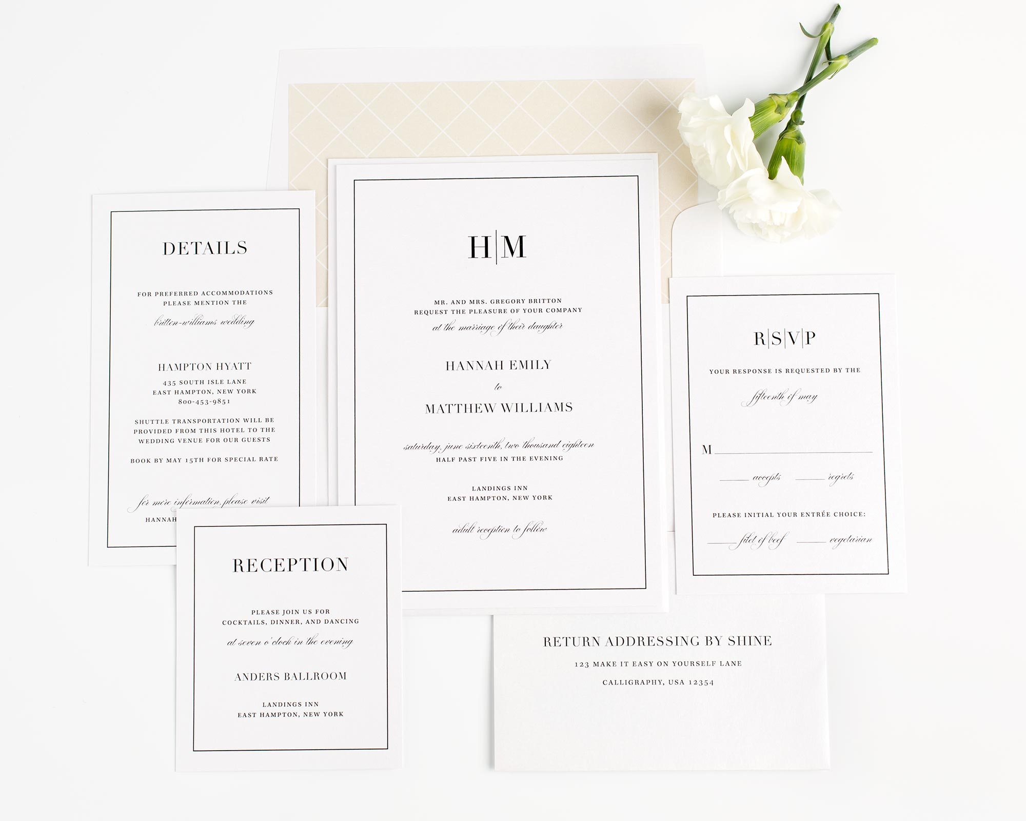 Modern wedding invitation suite in champagne