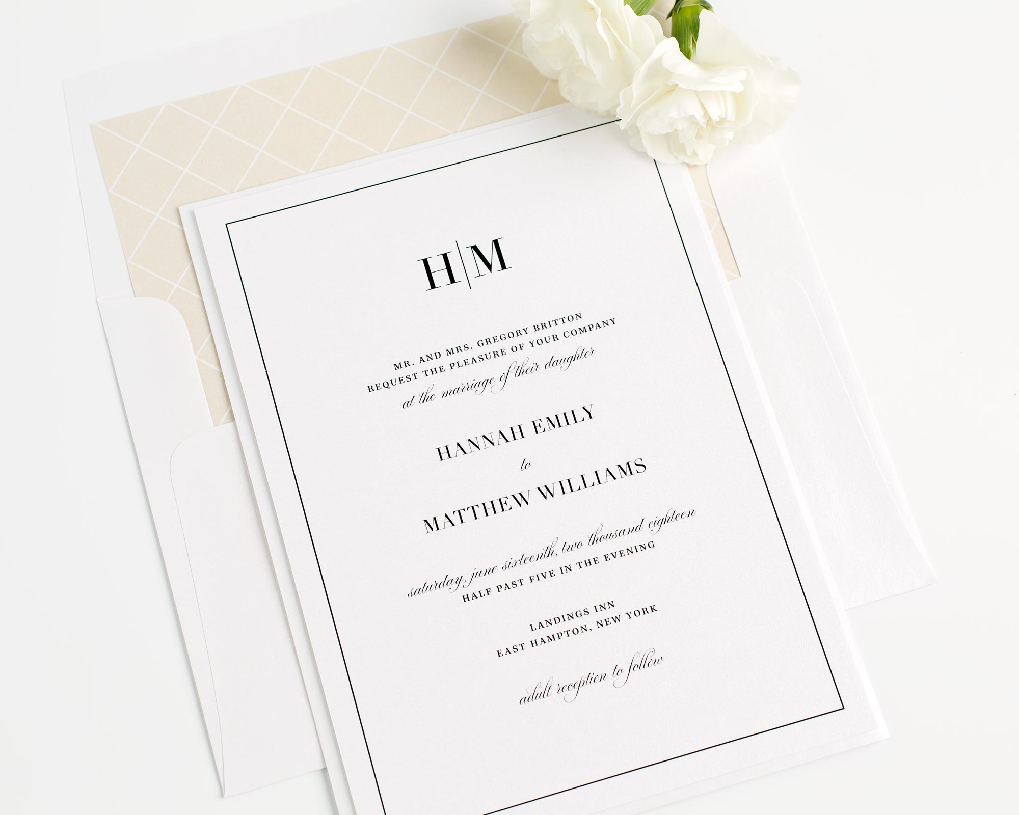 Glam Monogram Wedding Invitations in Champagne