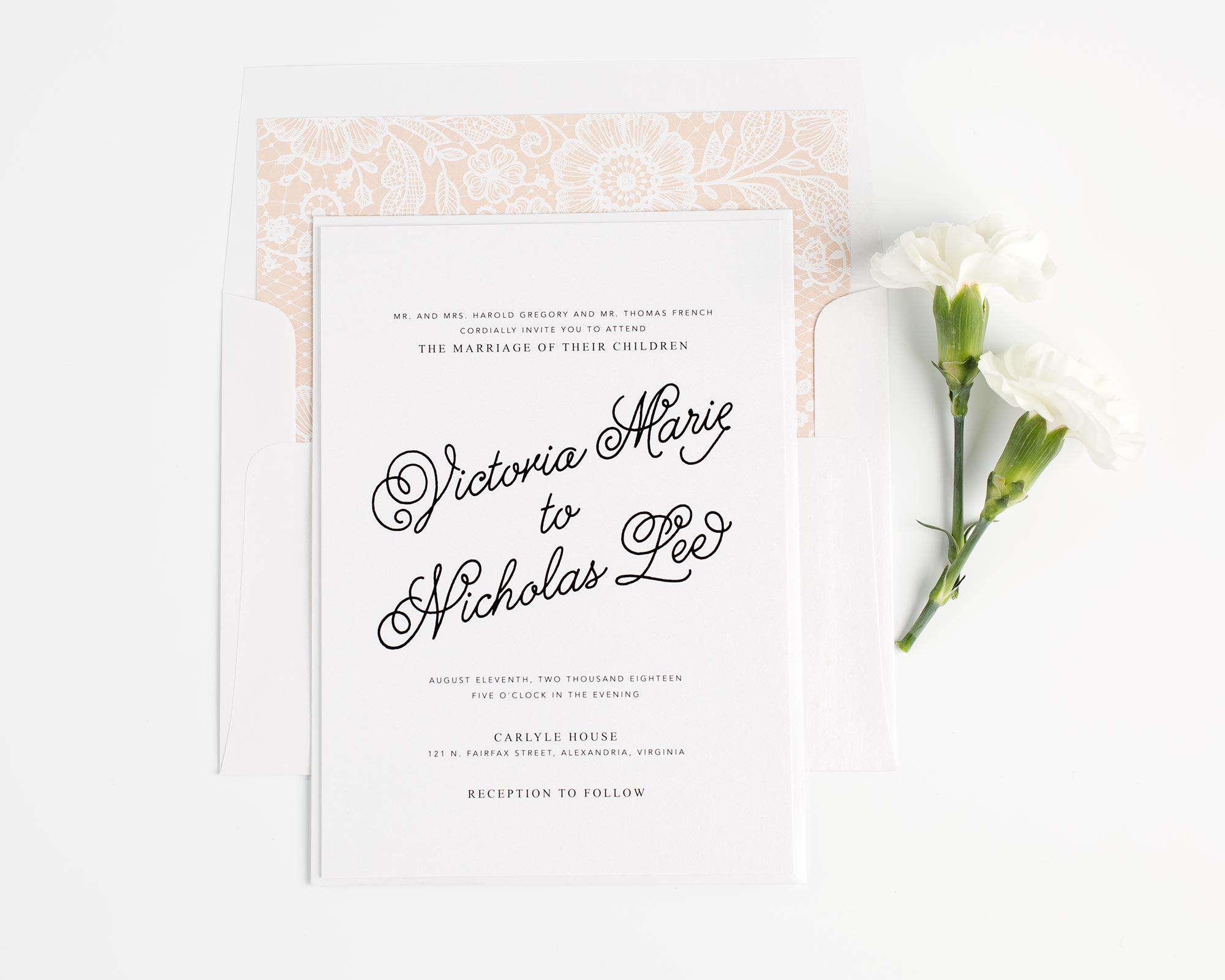 Peach Wedding Invitations with a Lace Liner