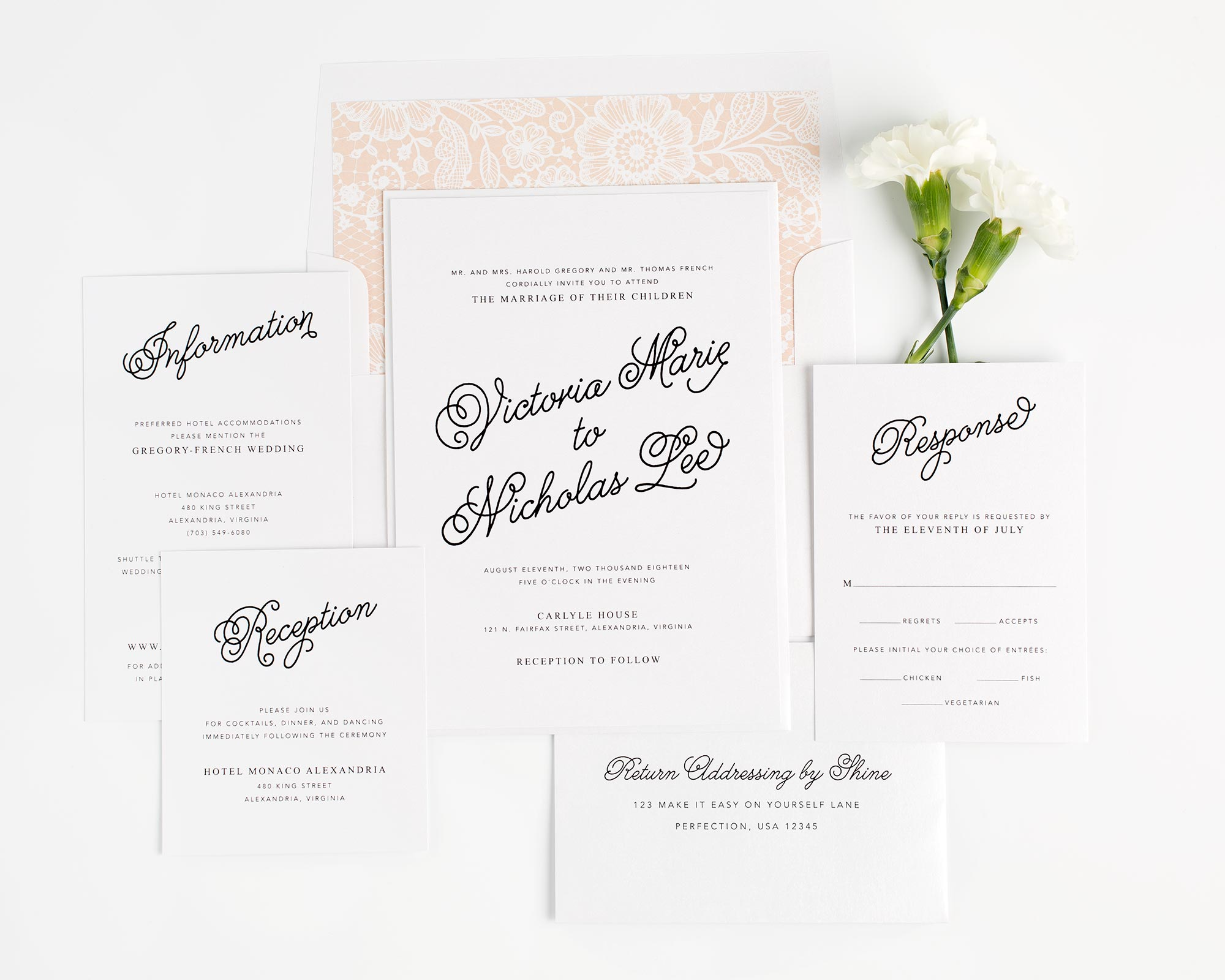 Lovely Wedding Invitations in Peach