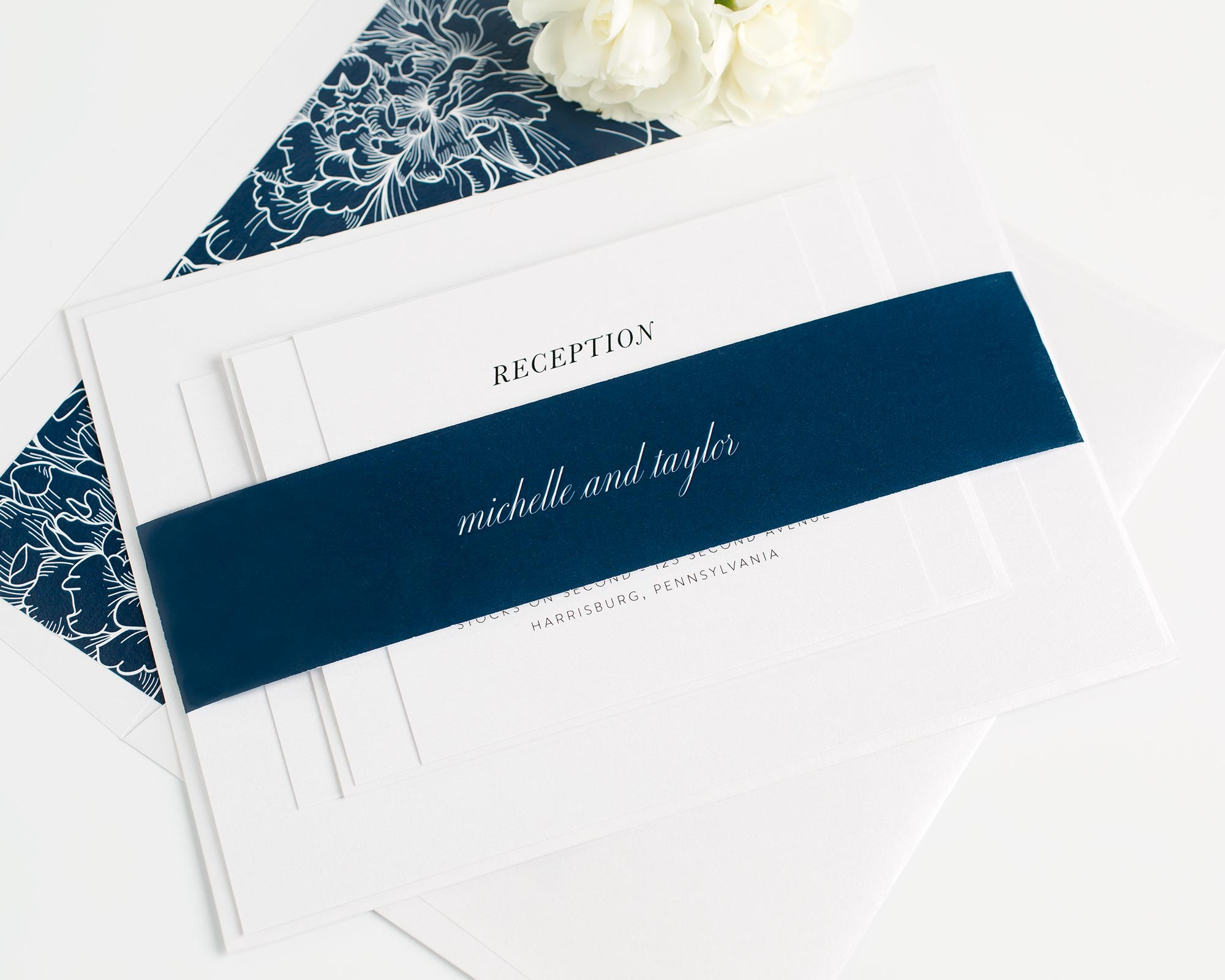 modern wedding invitations with a peony envelope liner - Modern Wedding Invites