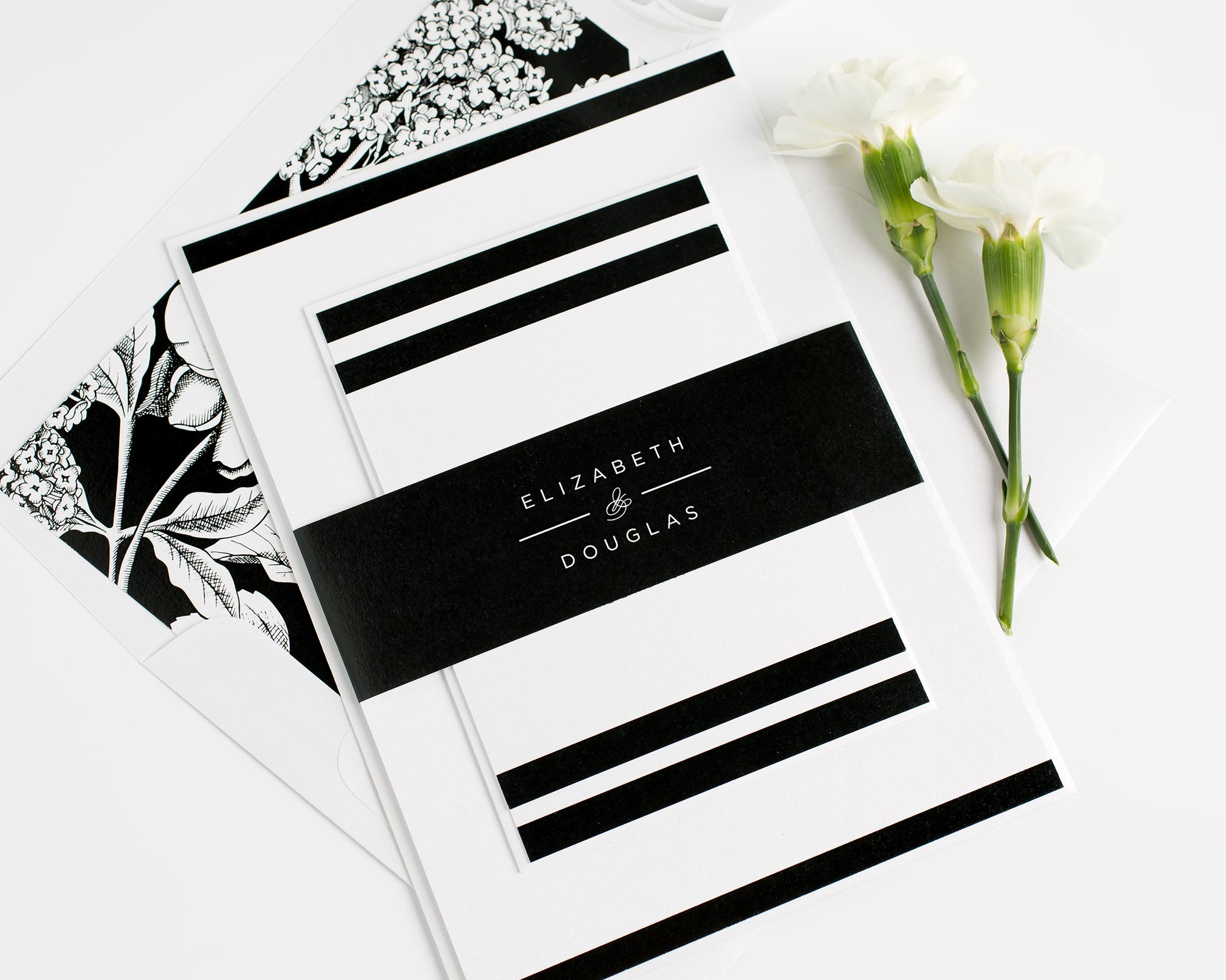 Modern Black and White Stationery Suite with a Contemporary Monogram