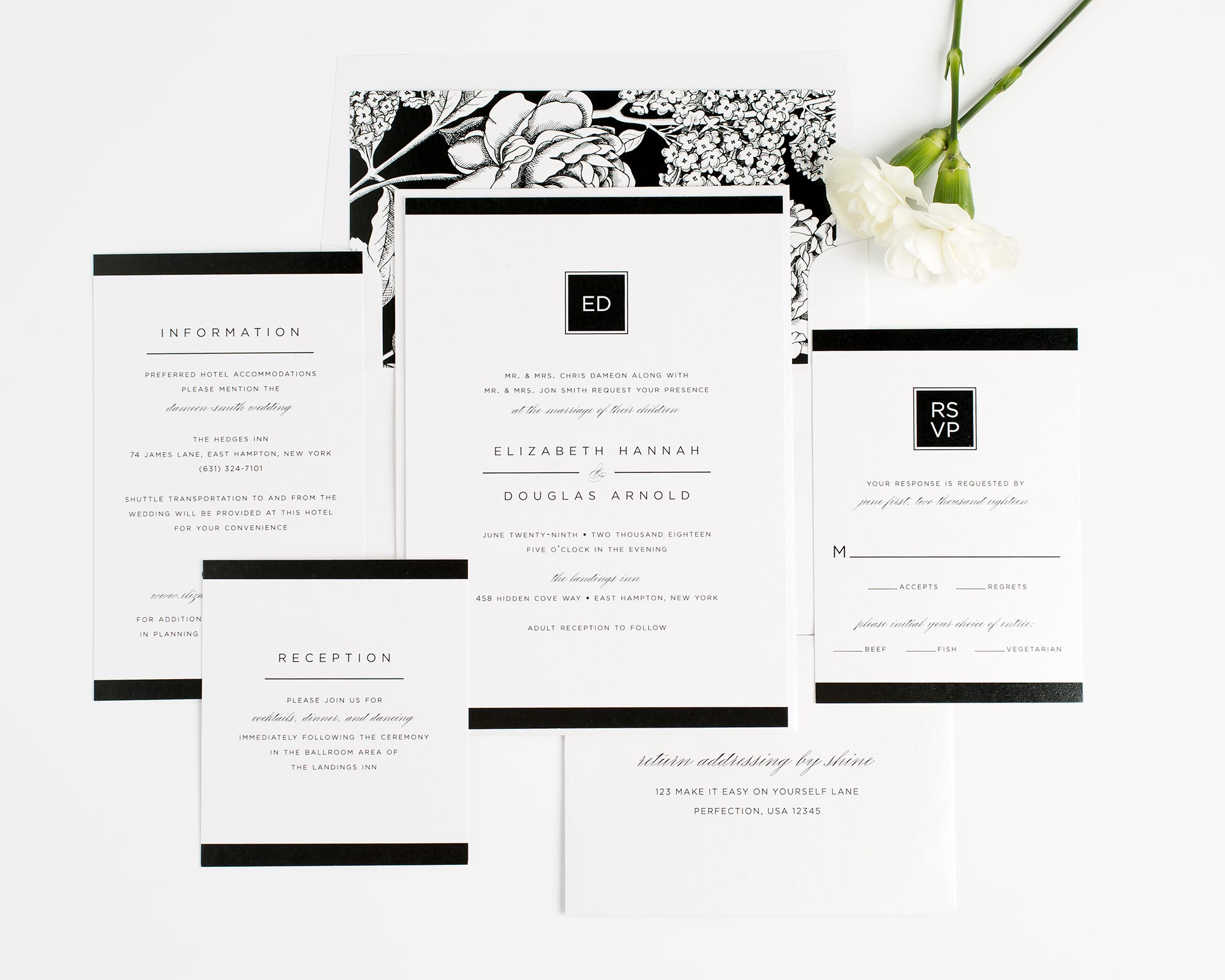 Modern and Glamorous Wedding Invitations in Black and White with a Floral Envelope Liner