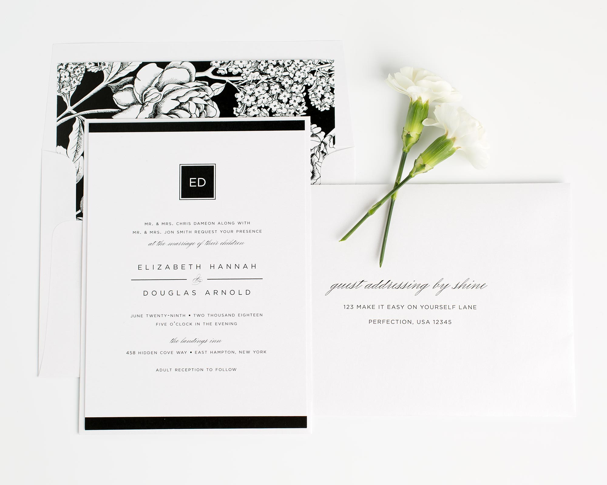 Modern Glamour Wedding Invitations with Guest Addressing