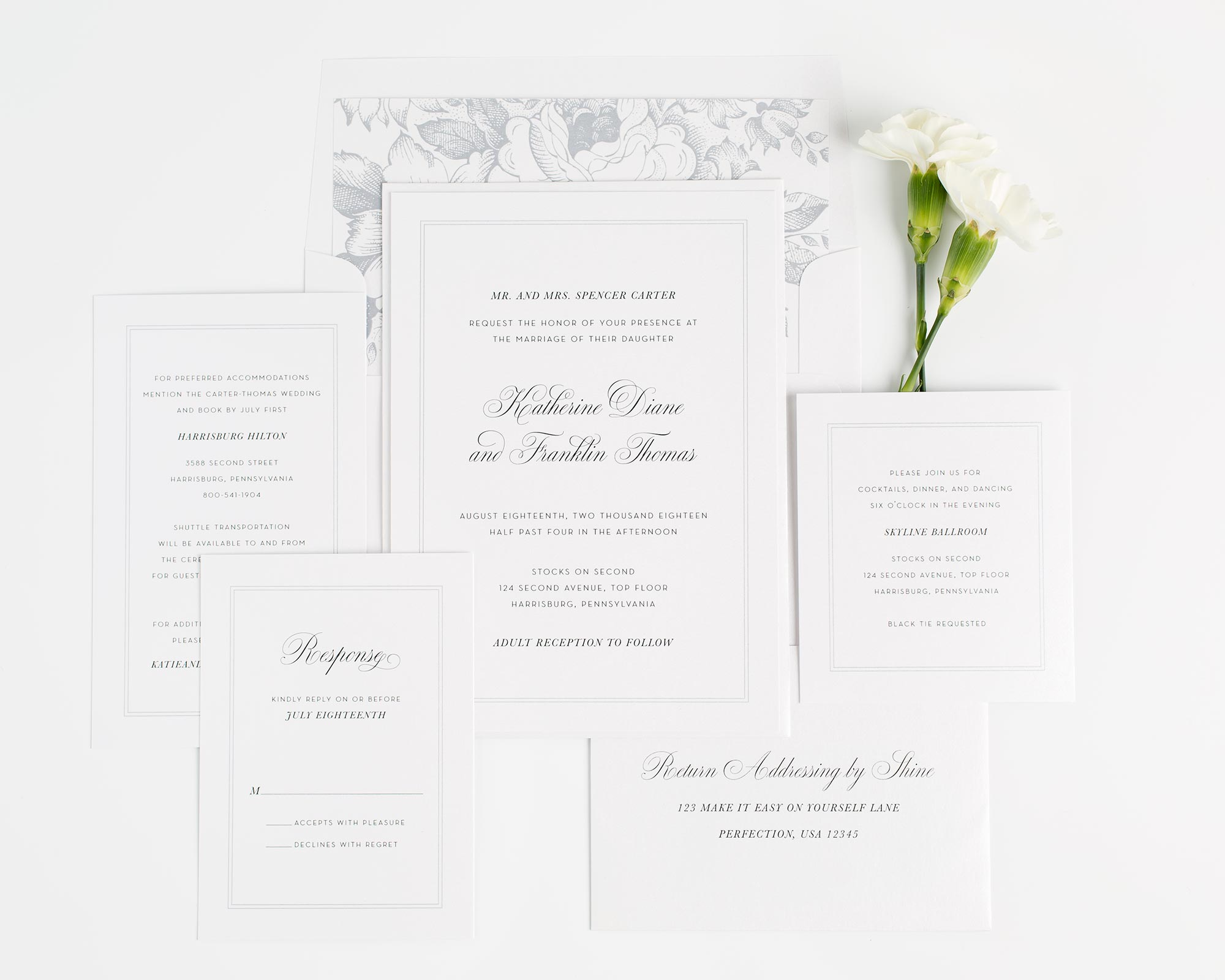 Simply Classic wedding invitations in dove gray