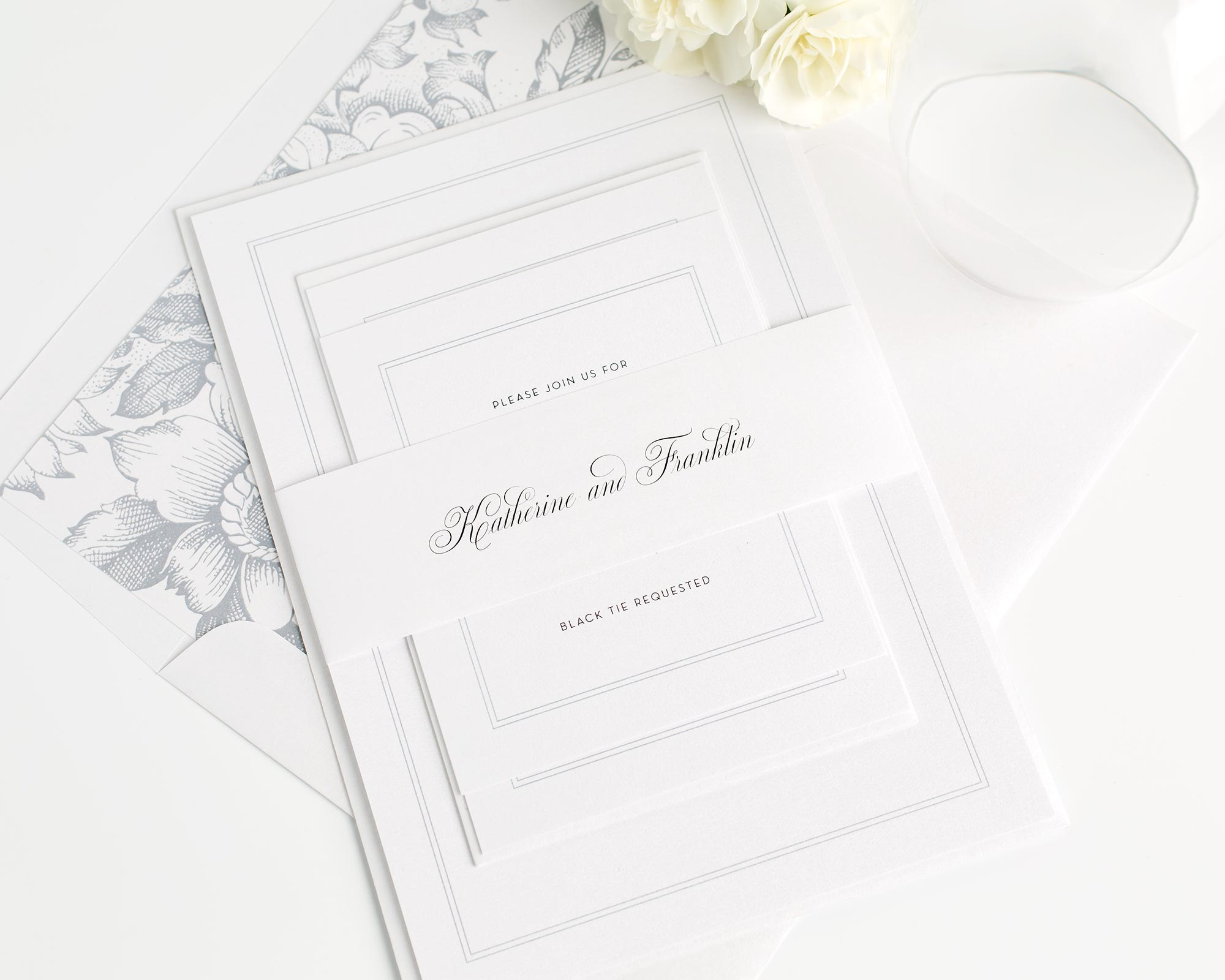 Simple Wedding Invitations in Dove Gray