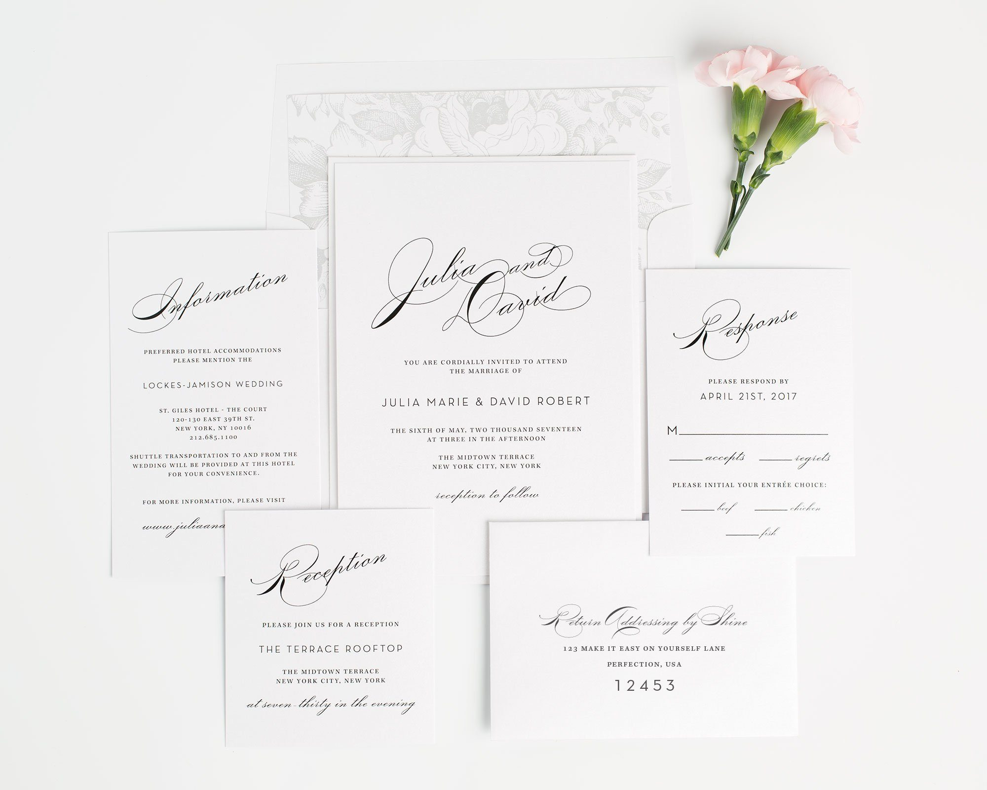 Vintage and Glamorous Wedding Invitations