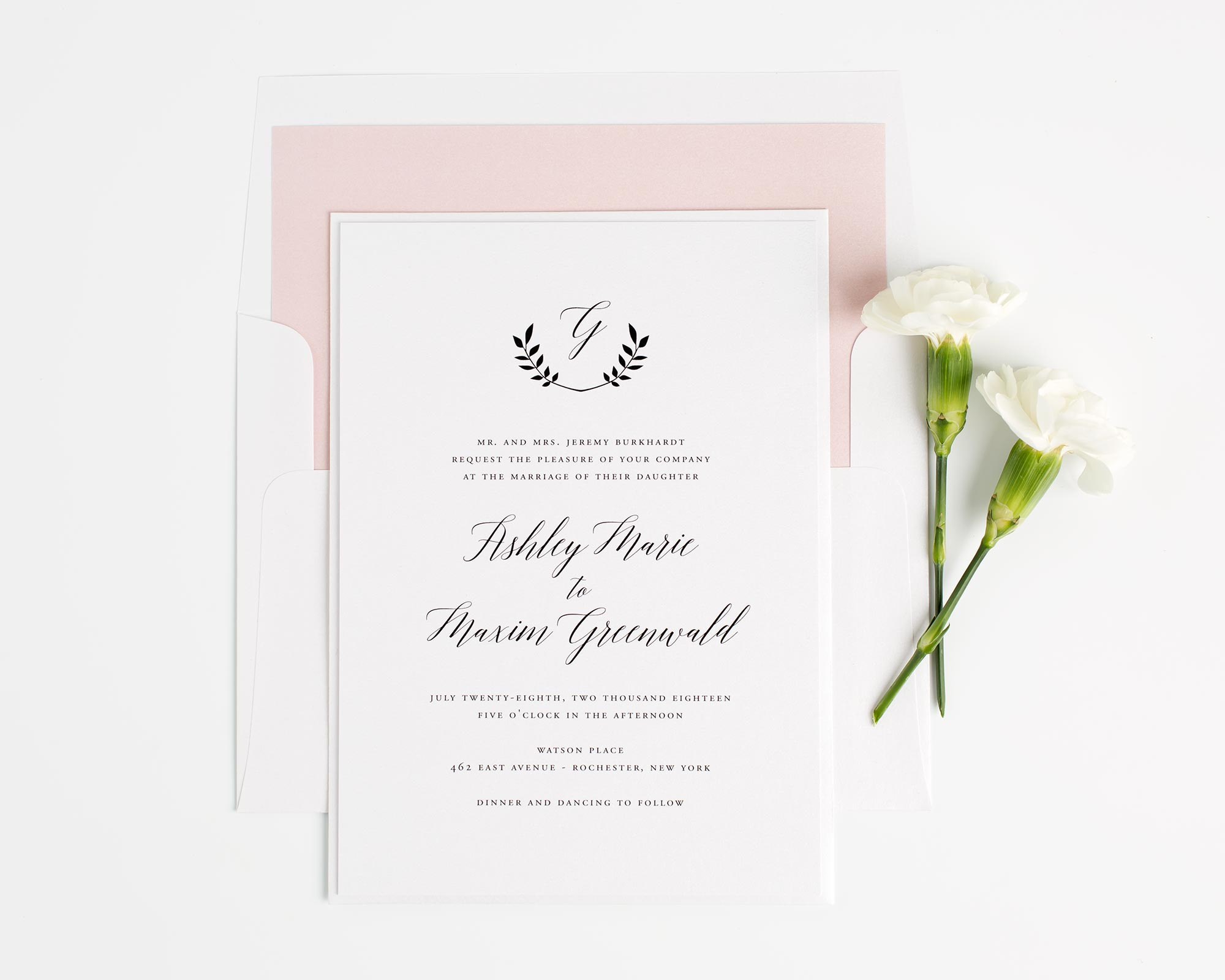 Blush Pink Monogram Wedding Invitations