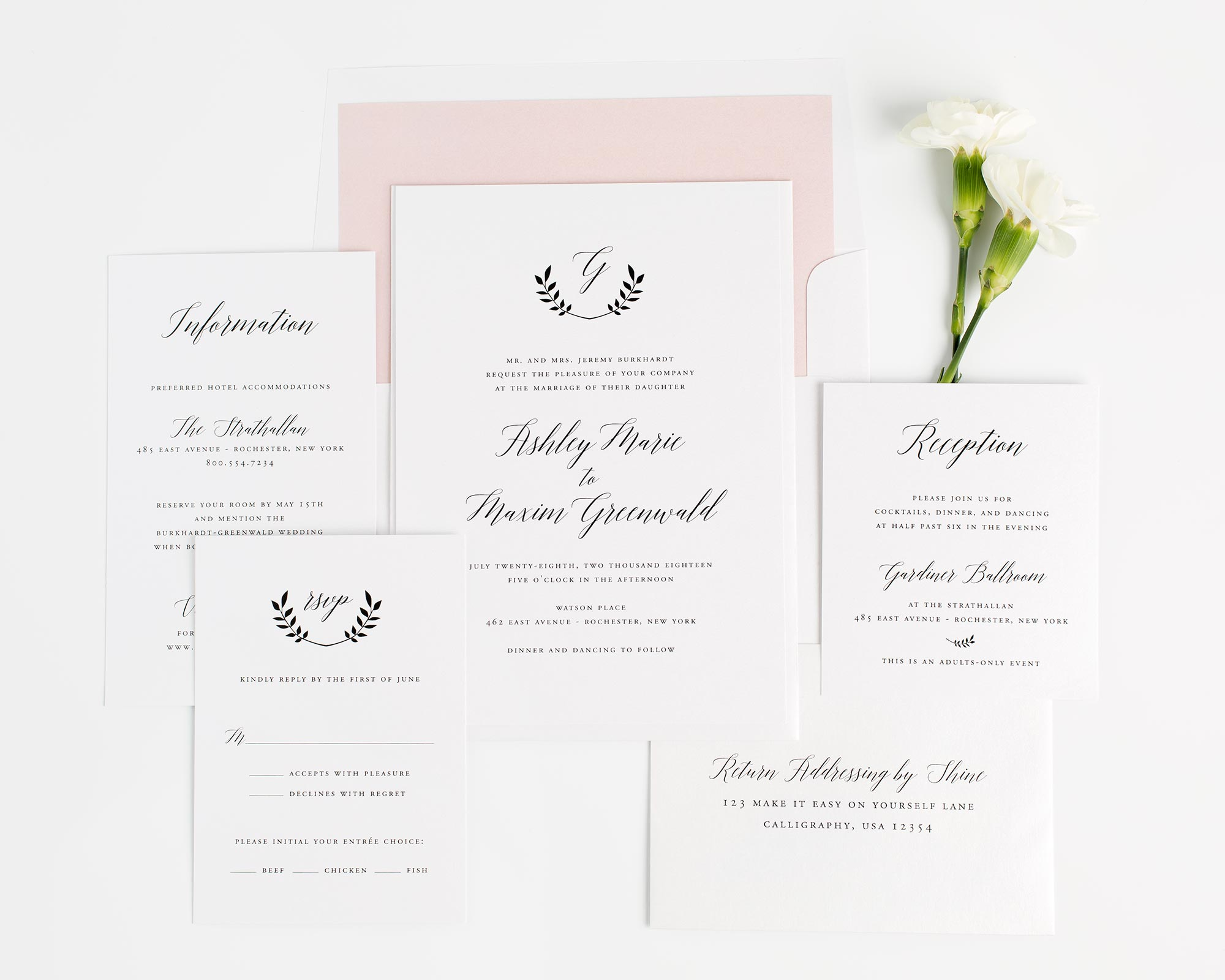 rustic wedding invitations in blush pink