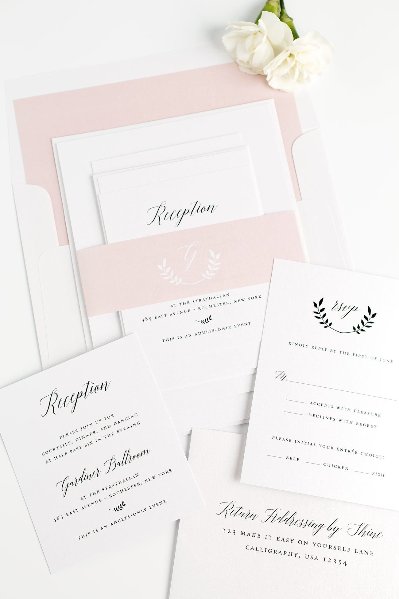 Blush Pink Wedding Invitations with an Olive Branch Wreath Monogram